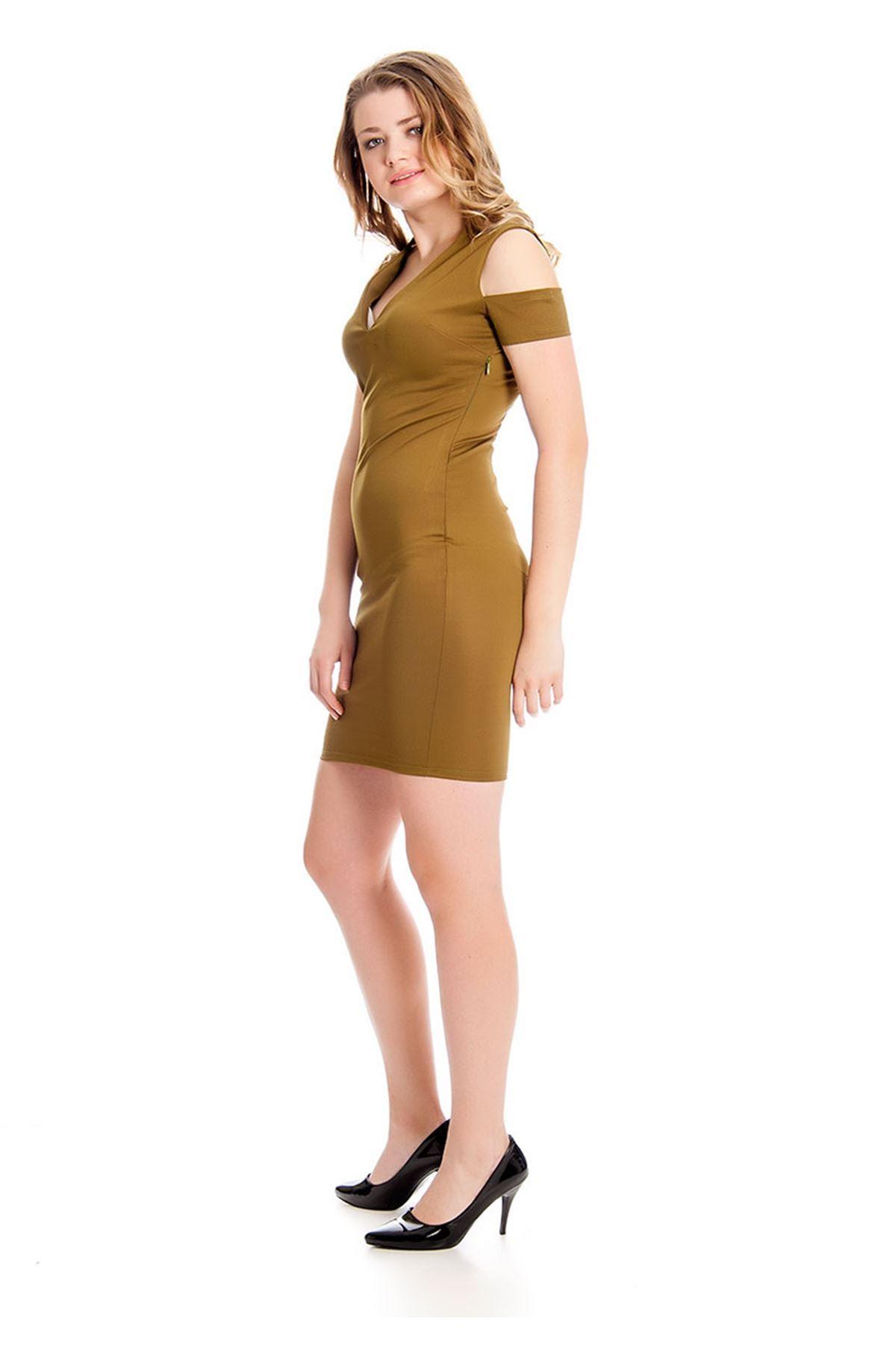 Kına Yeşili Dekolte Kadın Elbise H9-126900