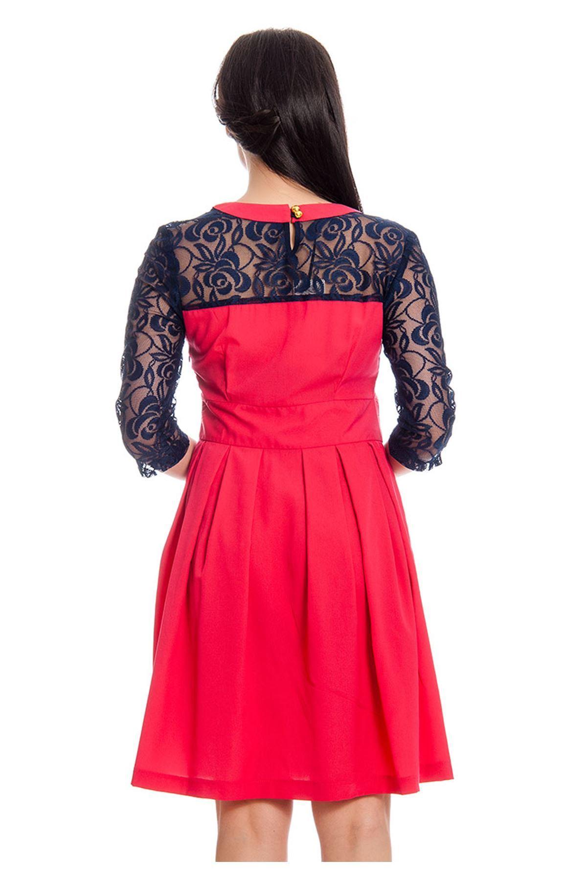 Kırmızı Dantel Detaylı Kadın Elbise H12-129969
