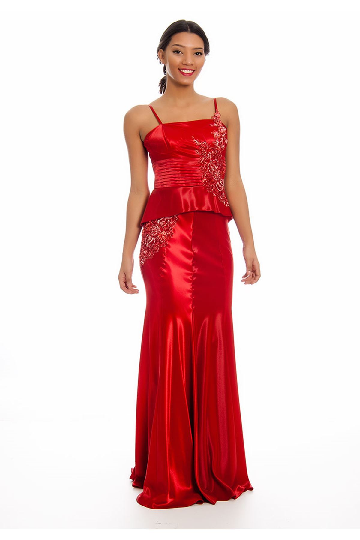 Kırmızı Boncuk İşlemeli Volanlı Abiye G8-125561