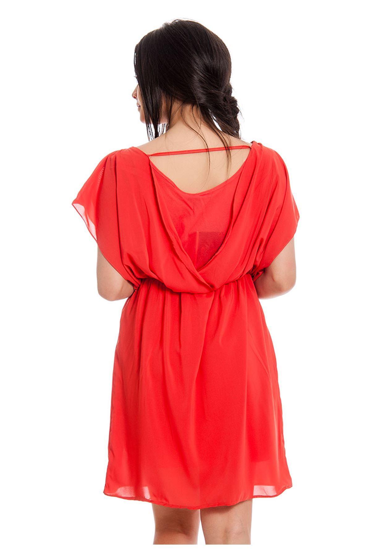 Kırmızı Şifon Kadın Elbise G5-130138