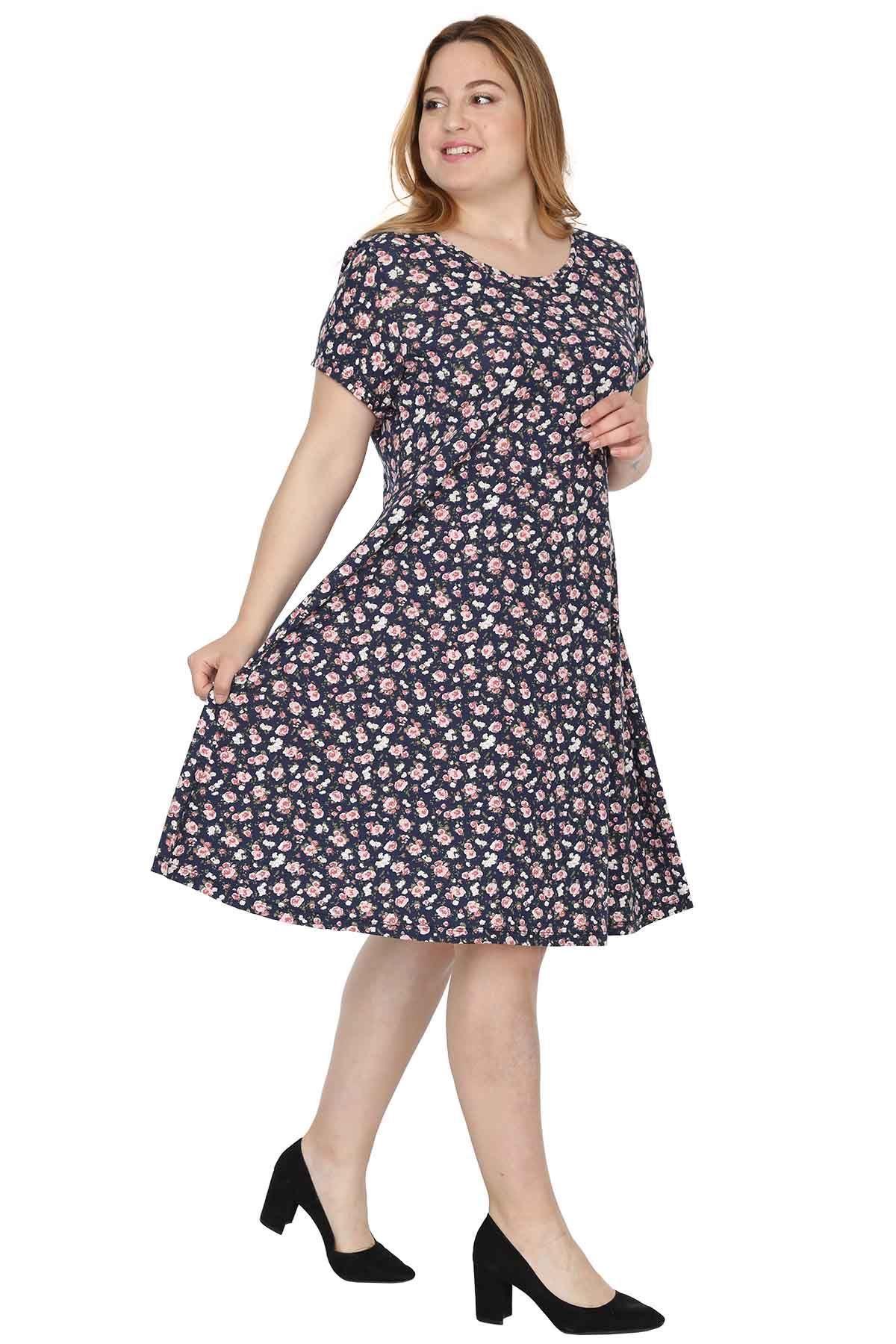 Kısa Kol Kloş Elbise 1D-0532