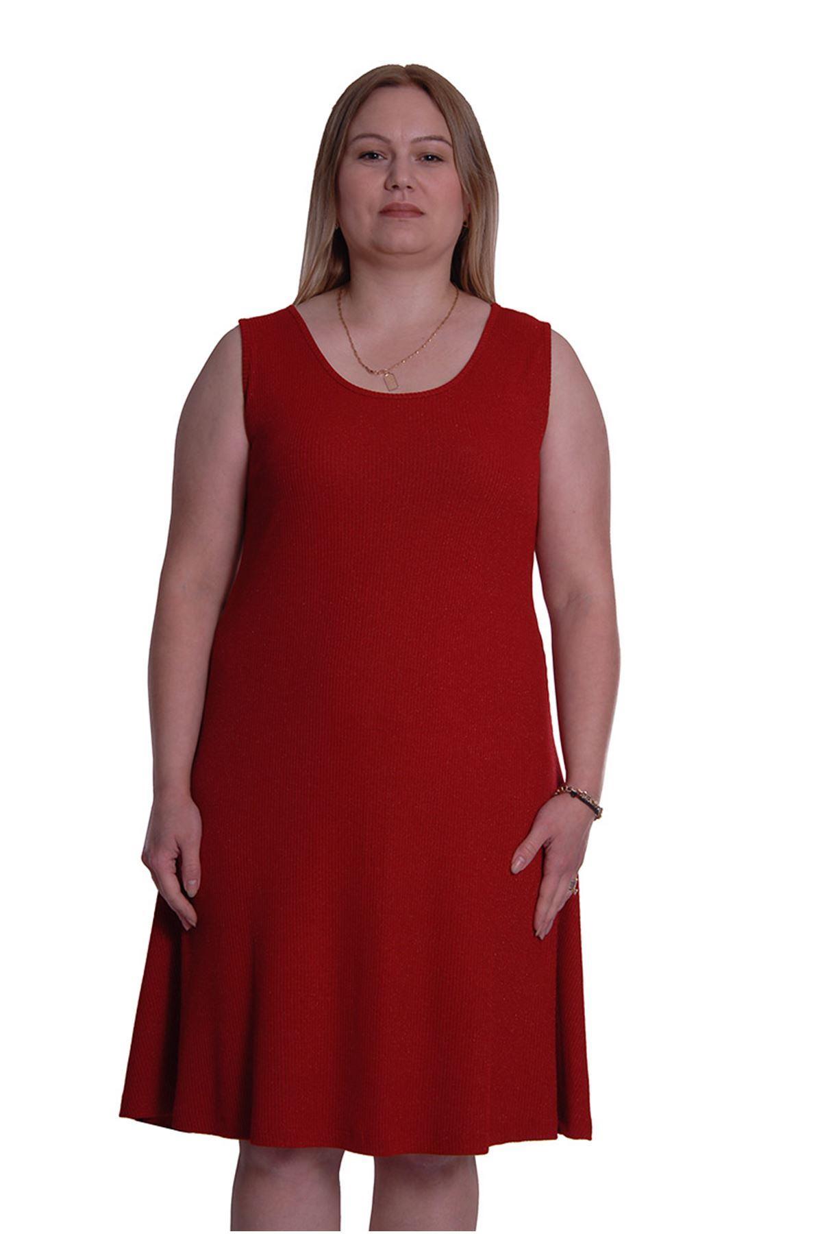 Kırmızı Kolsuz Elbise 3C-0019