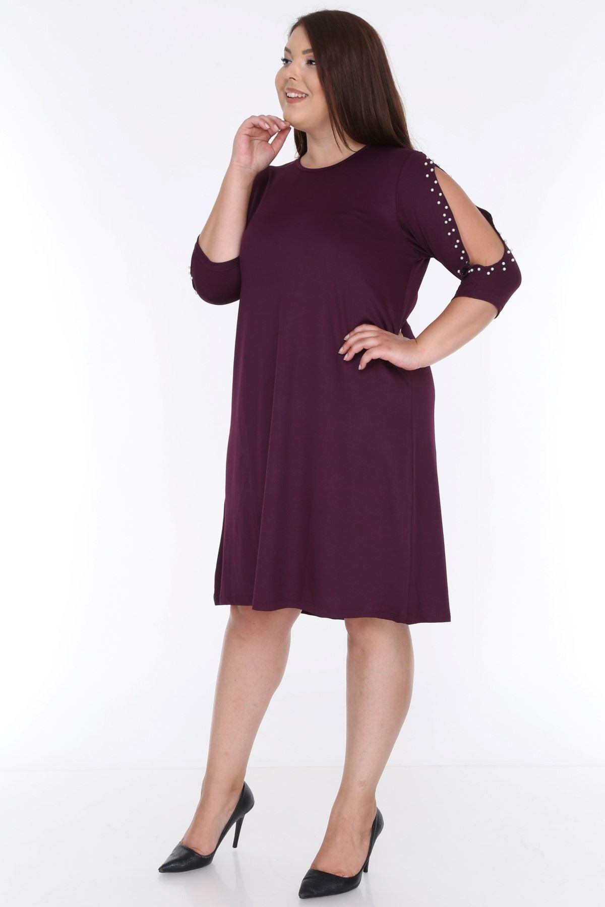 Kol İncili Mor Büyük Beden Elbise 9E-0615