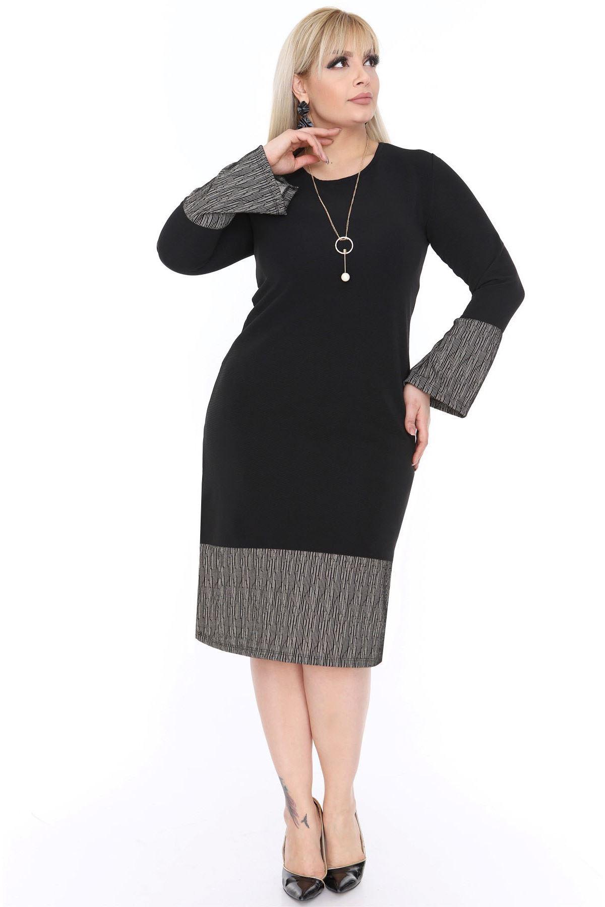 Kol Etek Garnili Siyah Elbise 20L-0447
