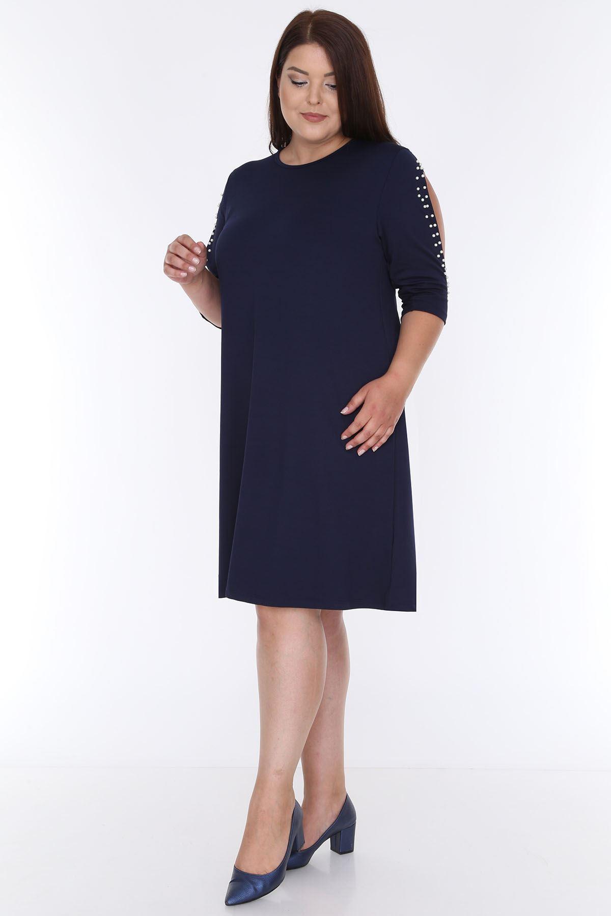 Kol İncili Lacivert Büyük Beden Elbise 6E-0607