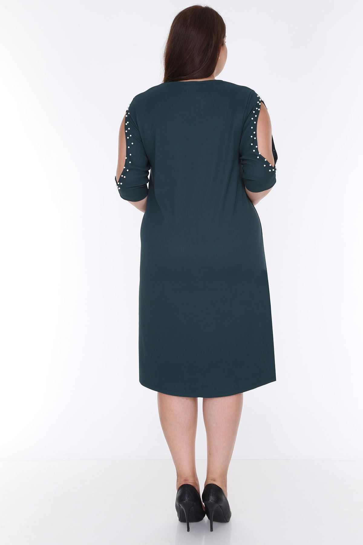 Kol İncili Yeşil Büyük Beden Elbise 2B-0621