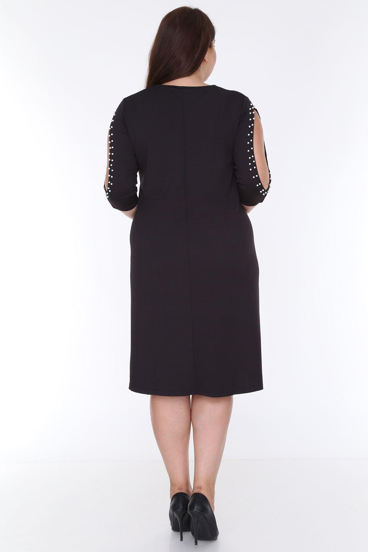Kol İncili Büyük Beden Elbise 8C-0611