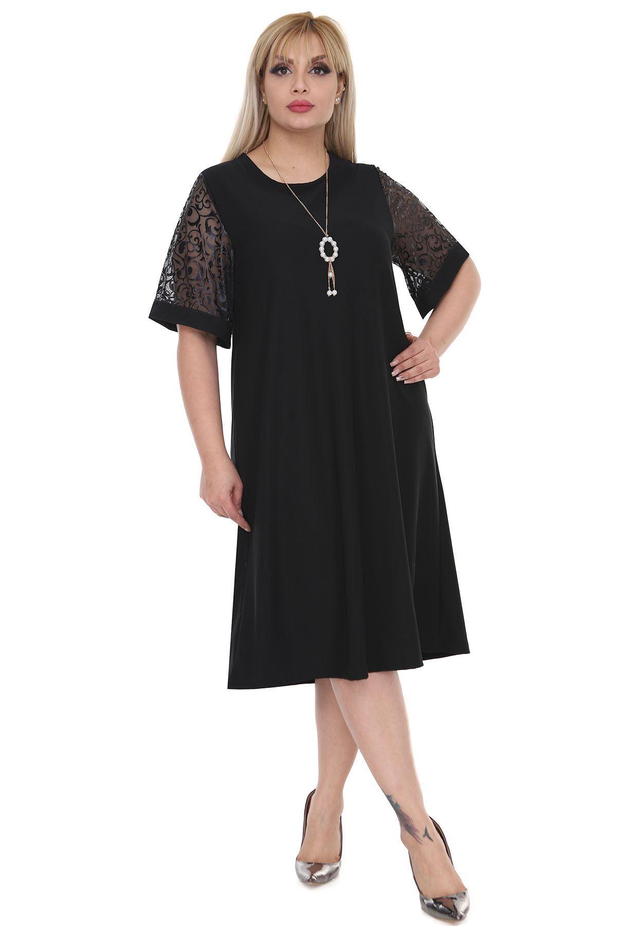 Kimono Kol Siyah Büyük Beden Elbise 8A-0521