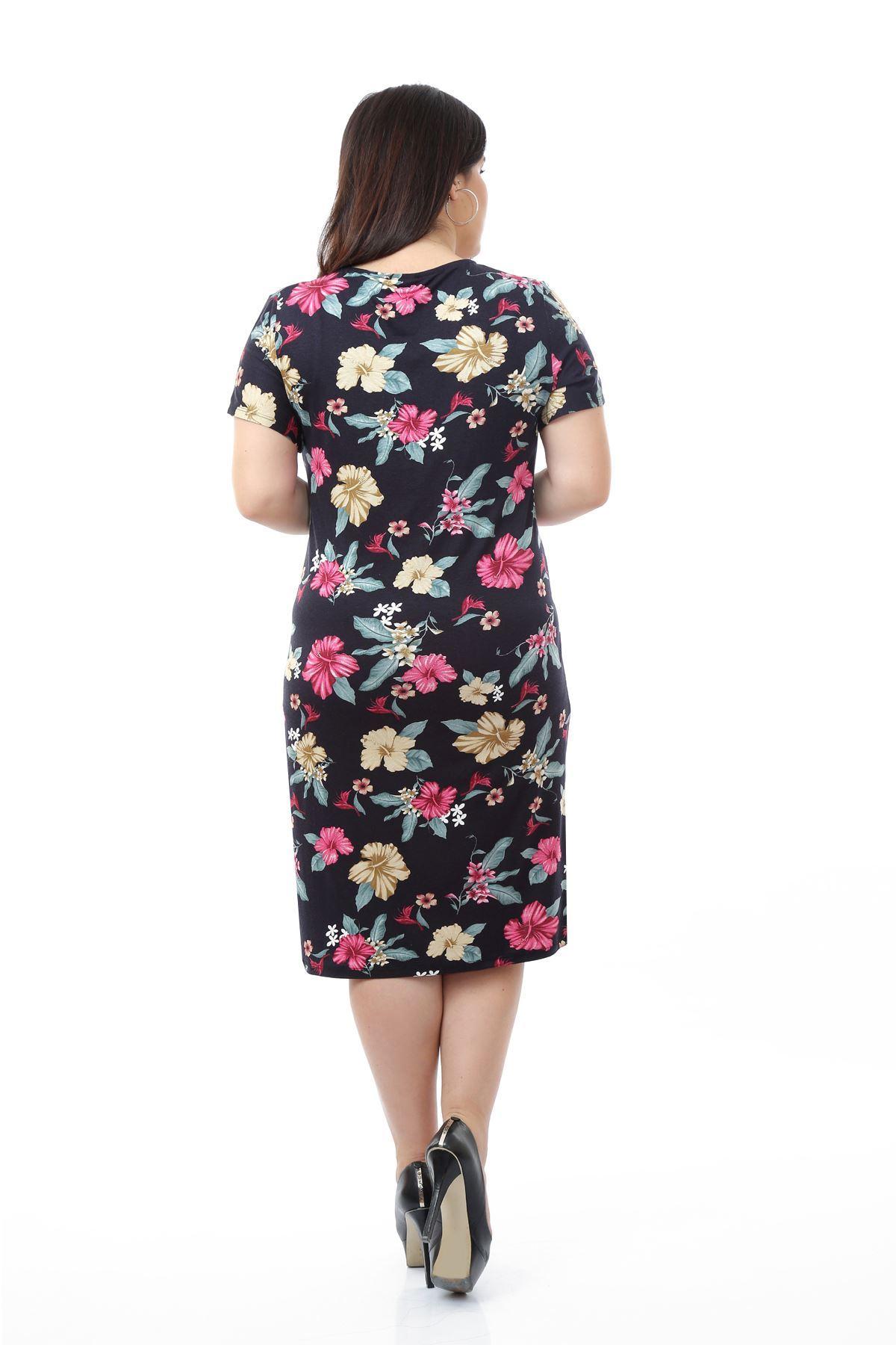 Lacivert Desenli Büyük Beden Elbise 5A-0665