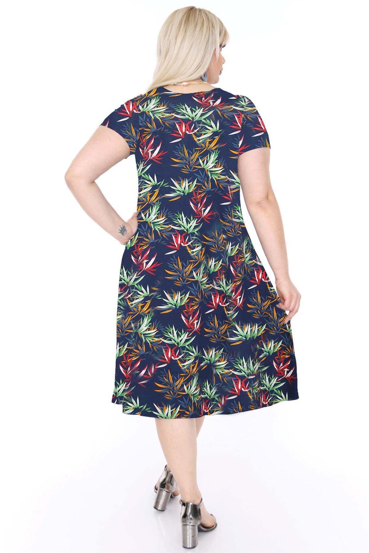 Lacivert Desenli Kloş Model Elbise 2A-0268