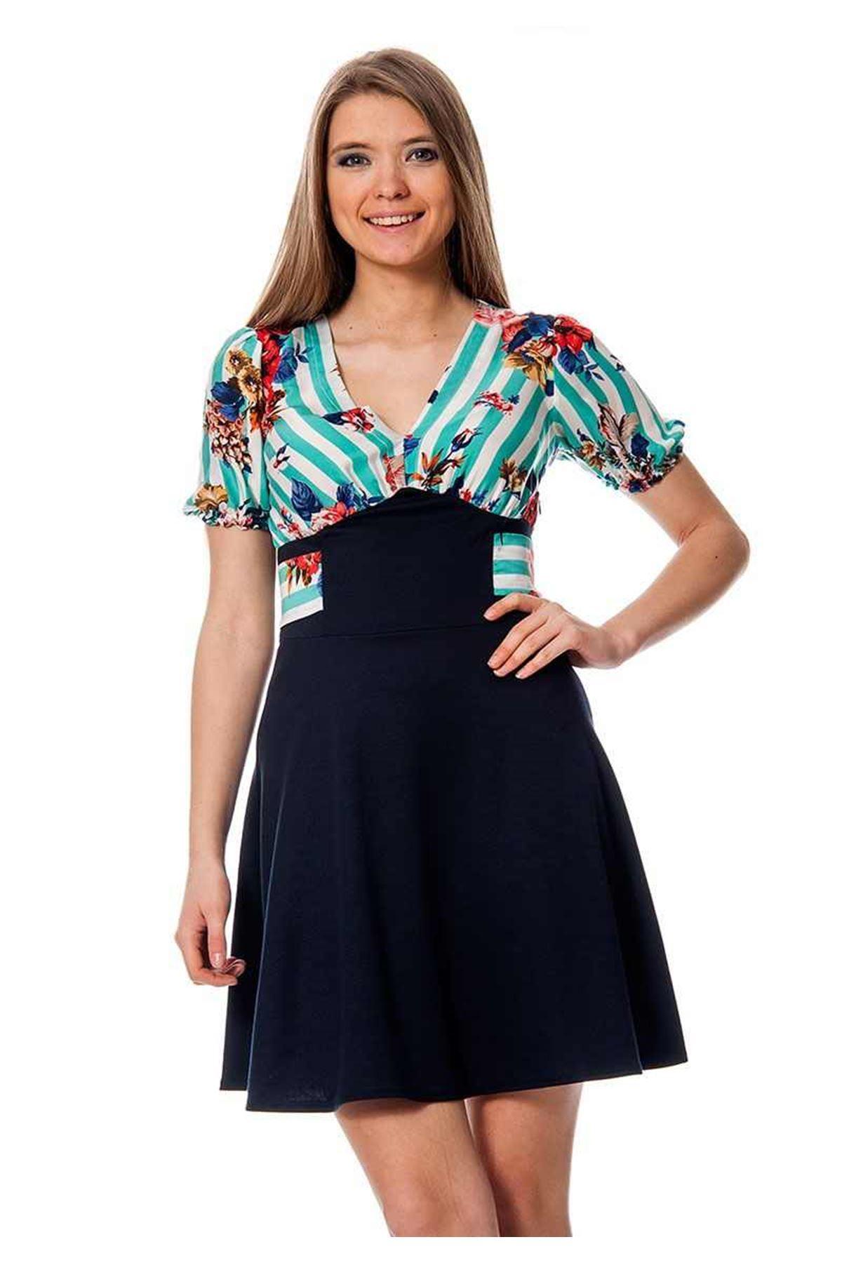 Lacivert Çiçek Desenli Elbise I6-109826