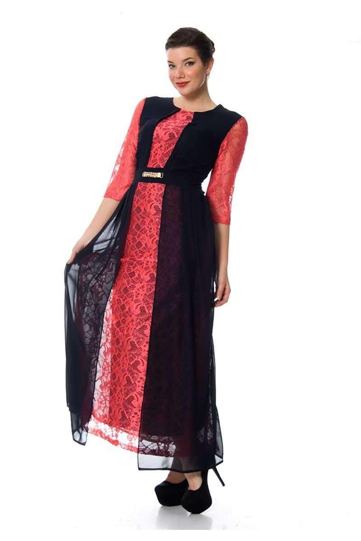 Lacivert Dantelli Elbise I2-102050