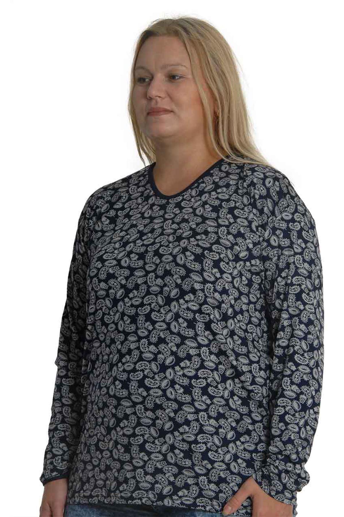 Lacivert Desenli Bluz 5C-0755