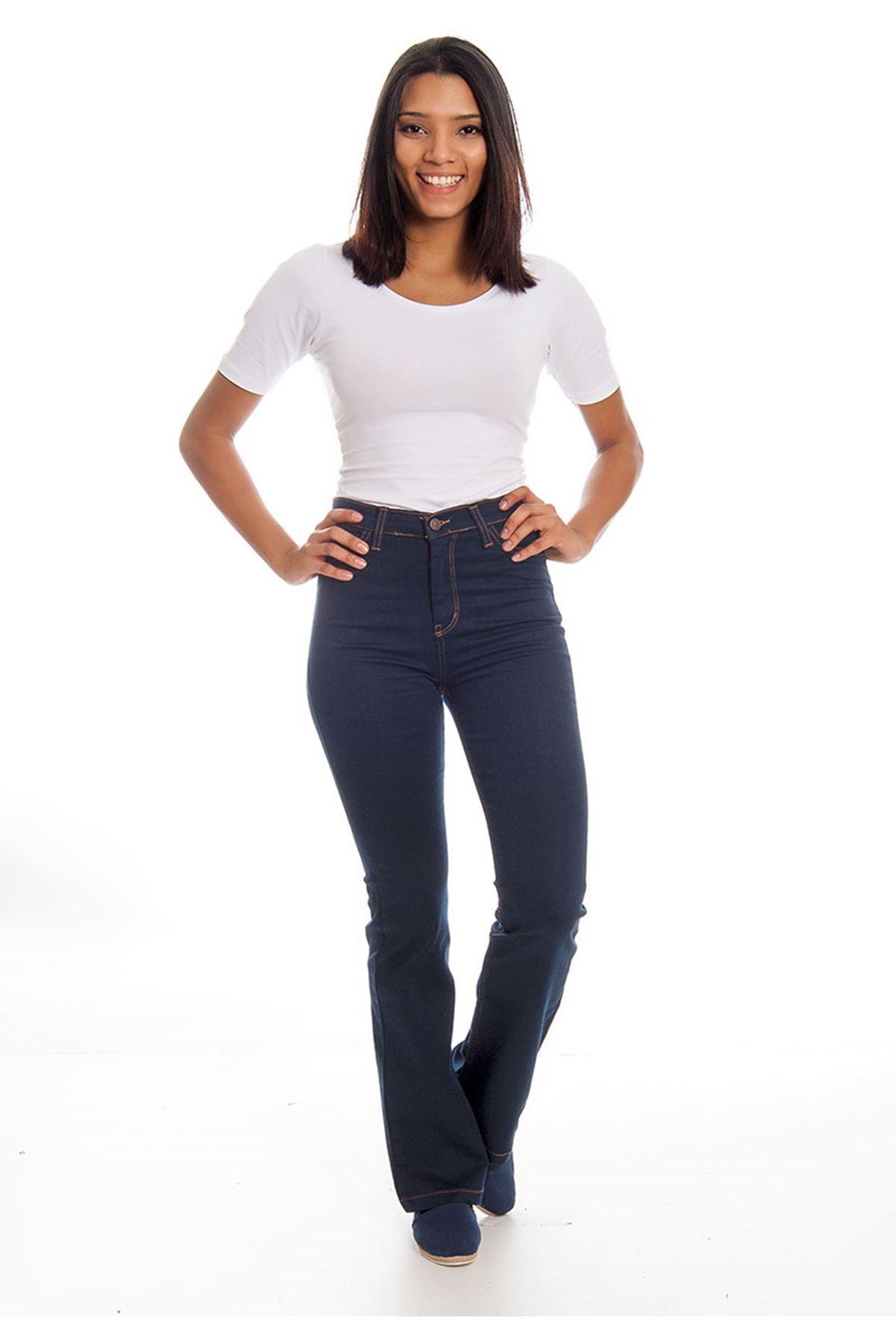 Lacivert İspanyol Paça Yüksek Bel Kadın Pantolon 5A-126119
