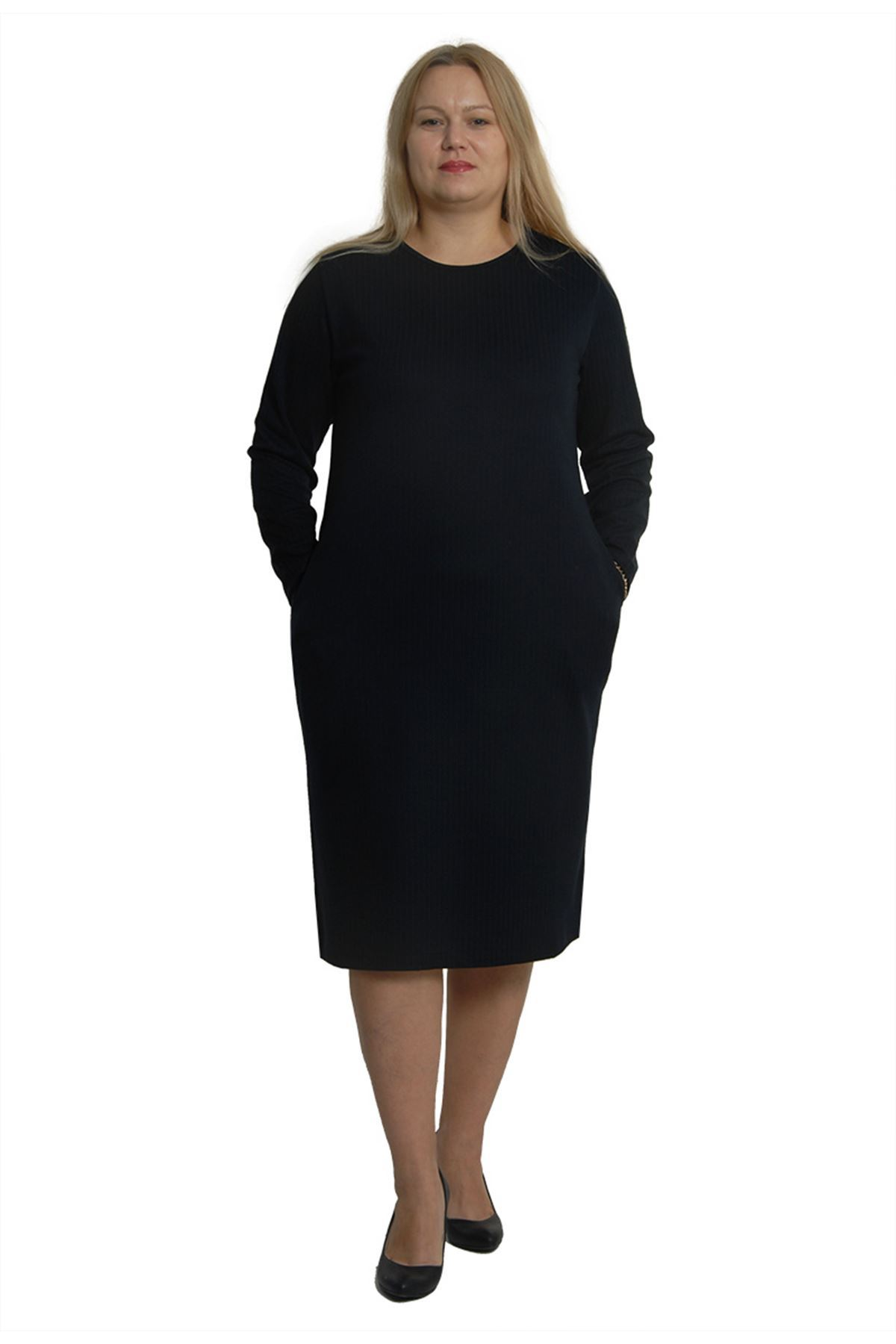 Lacivert Esnek Cepli Elbise 3B-0384