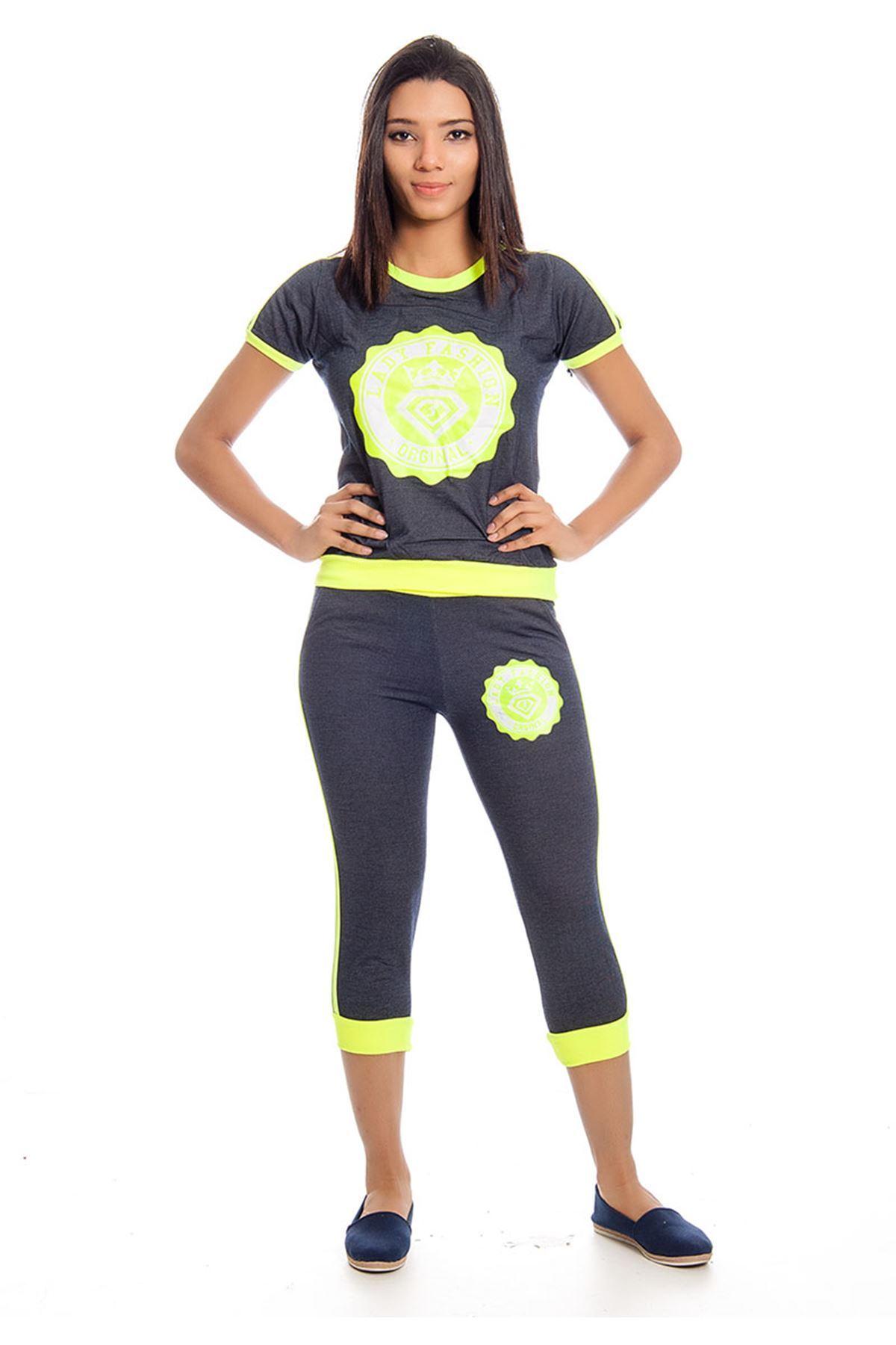 Lacivert Neon Yeşil  Eşofman Takımı 14E-129700