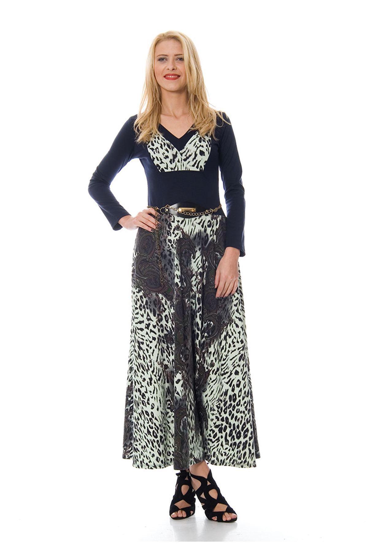 Lacivert Leopar Desenli Elbise F1-103895