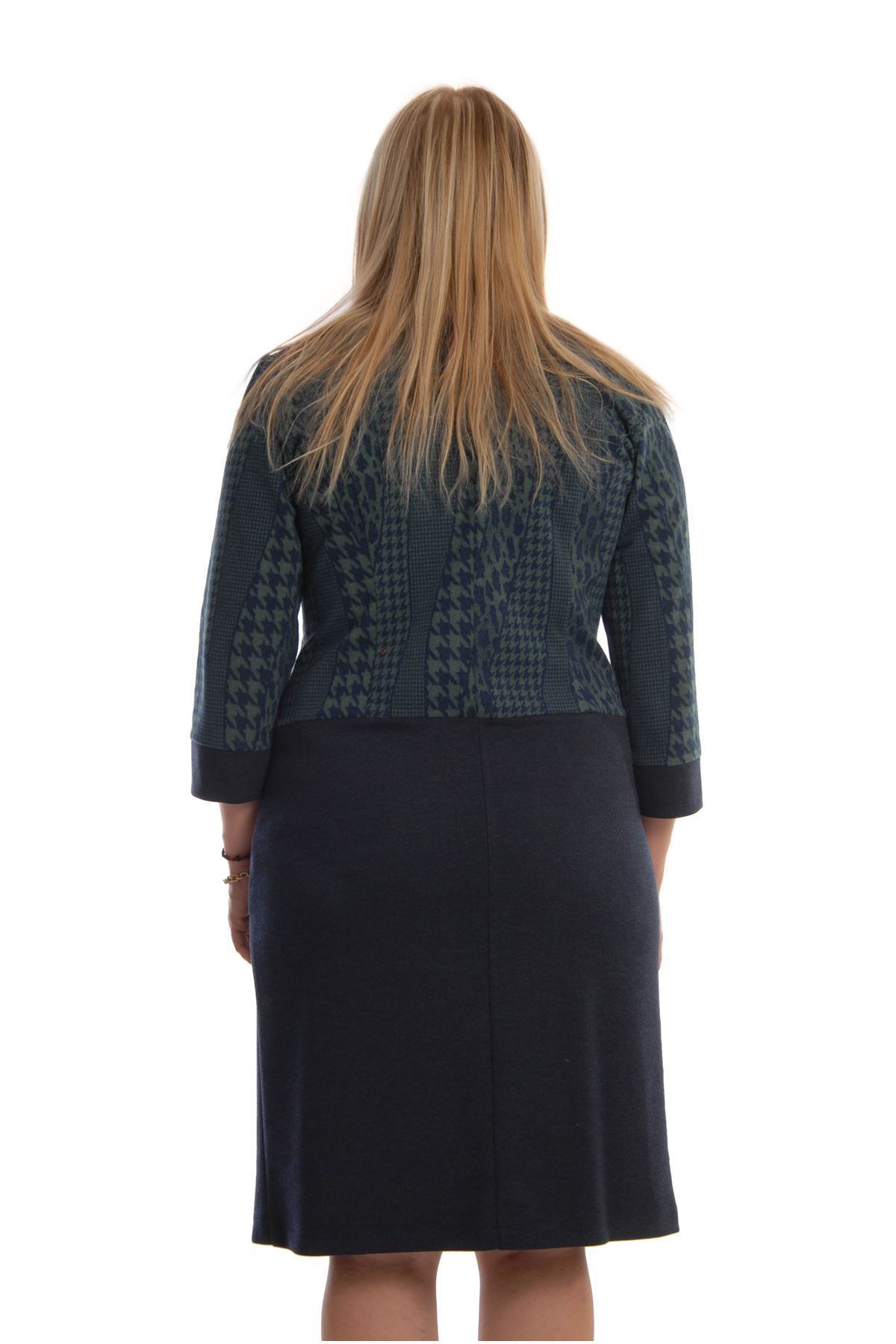 Lacivert Yeşil Elbise F11-68398