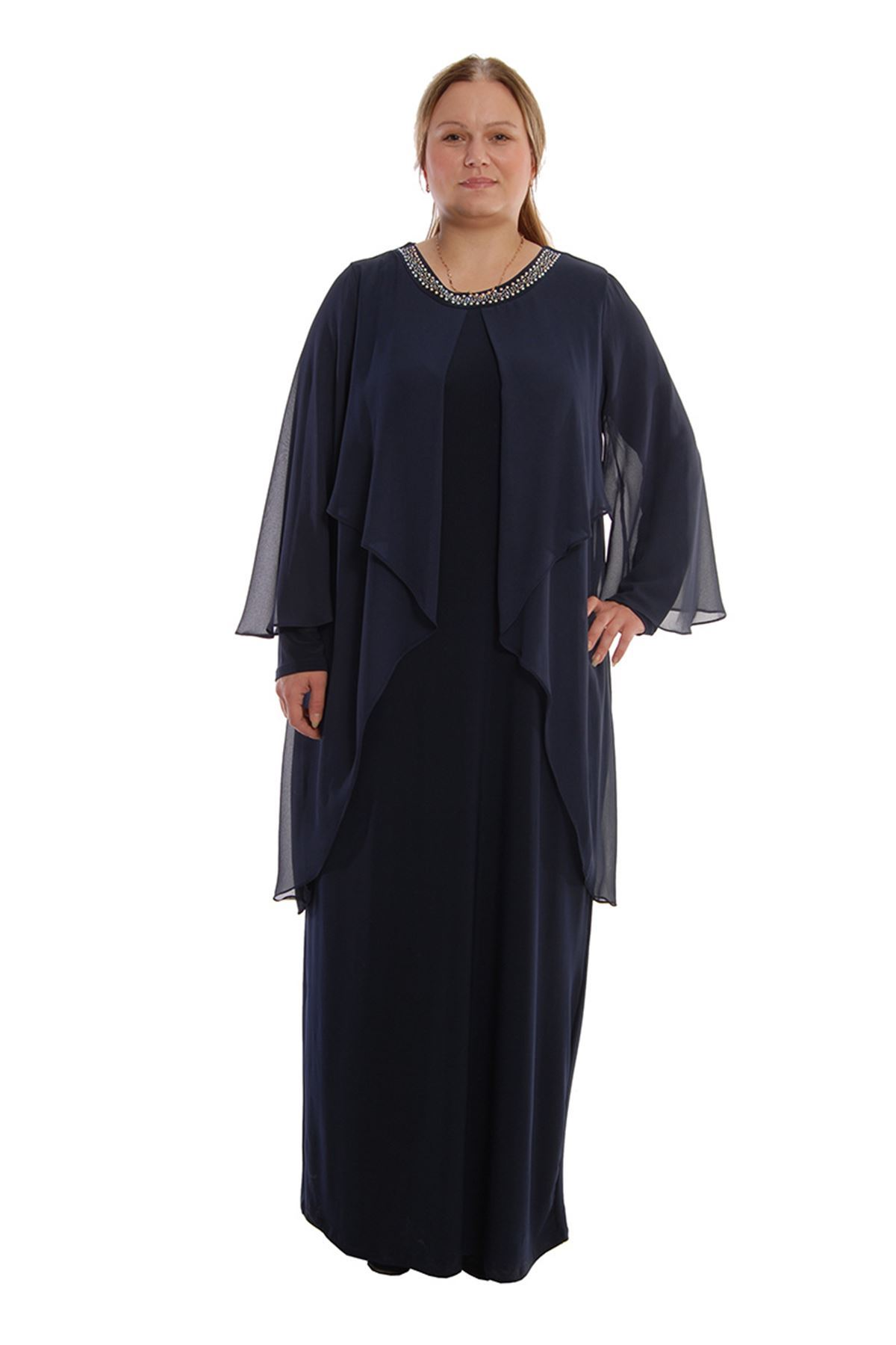 Lacivert Uzun Abiye H8-68012