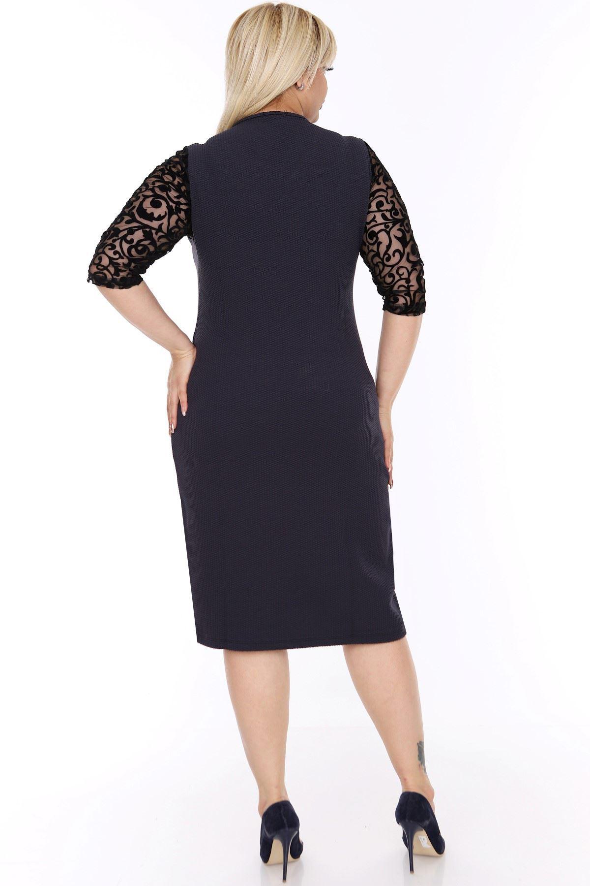 Lacivert Yetim Kol Elbise 1C-0434