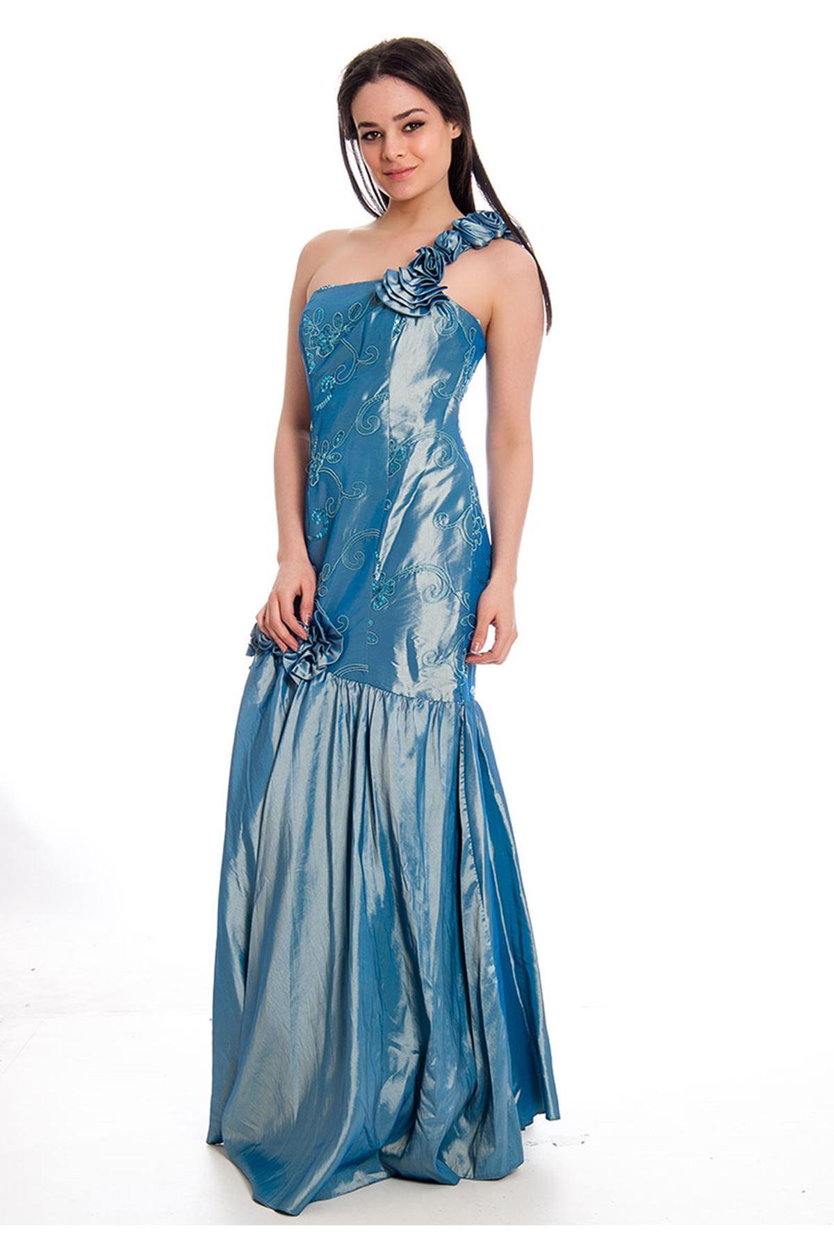 Mavi Pullu Abiye G9-45145