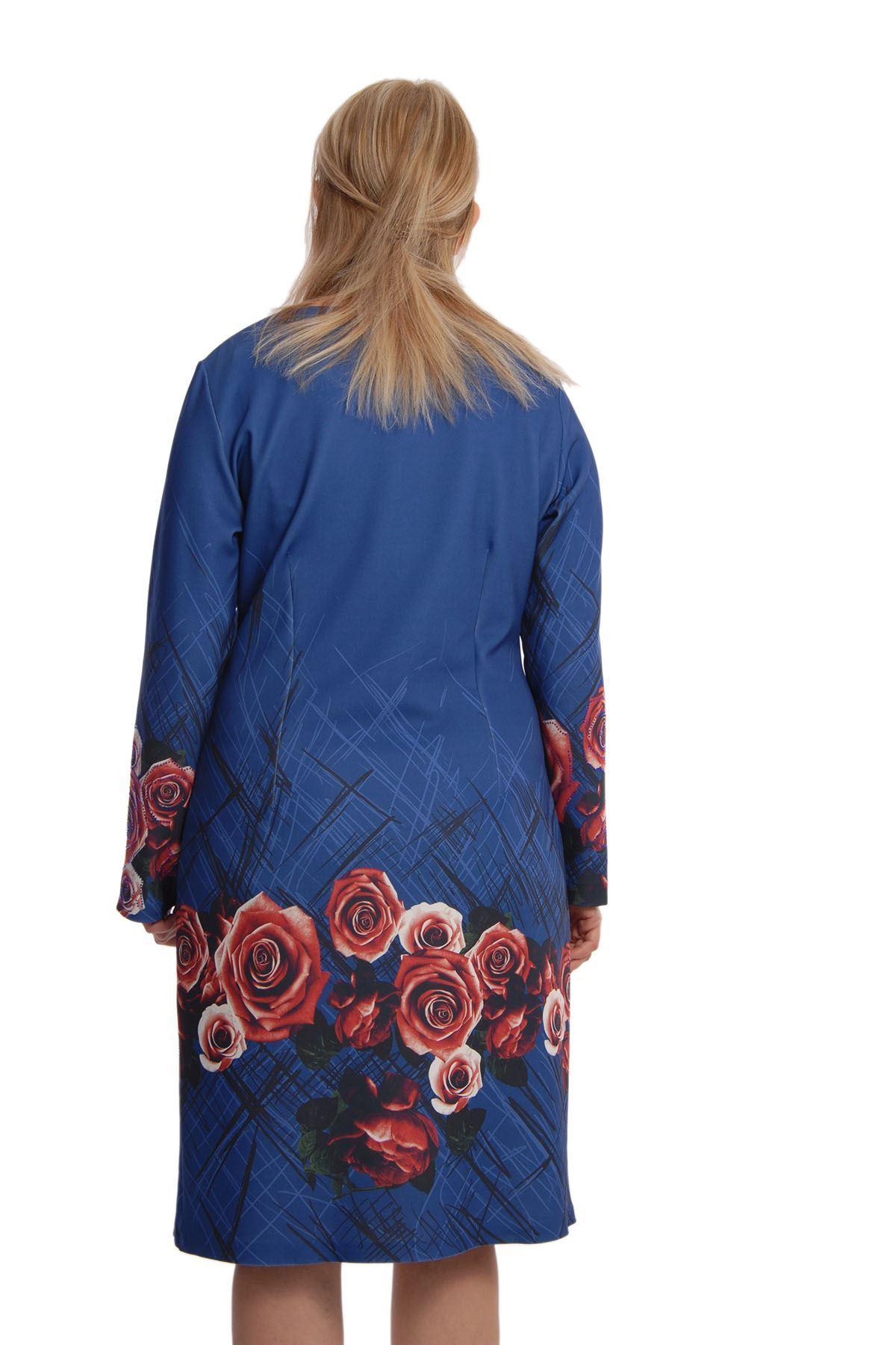 Mavi Güllü Elbise G3-65789