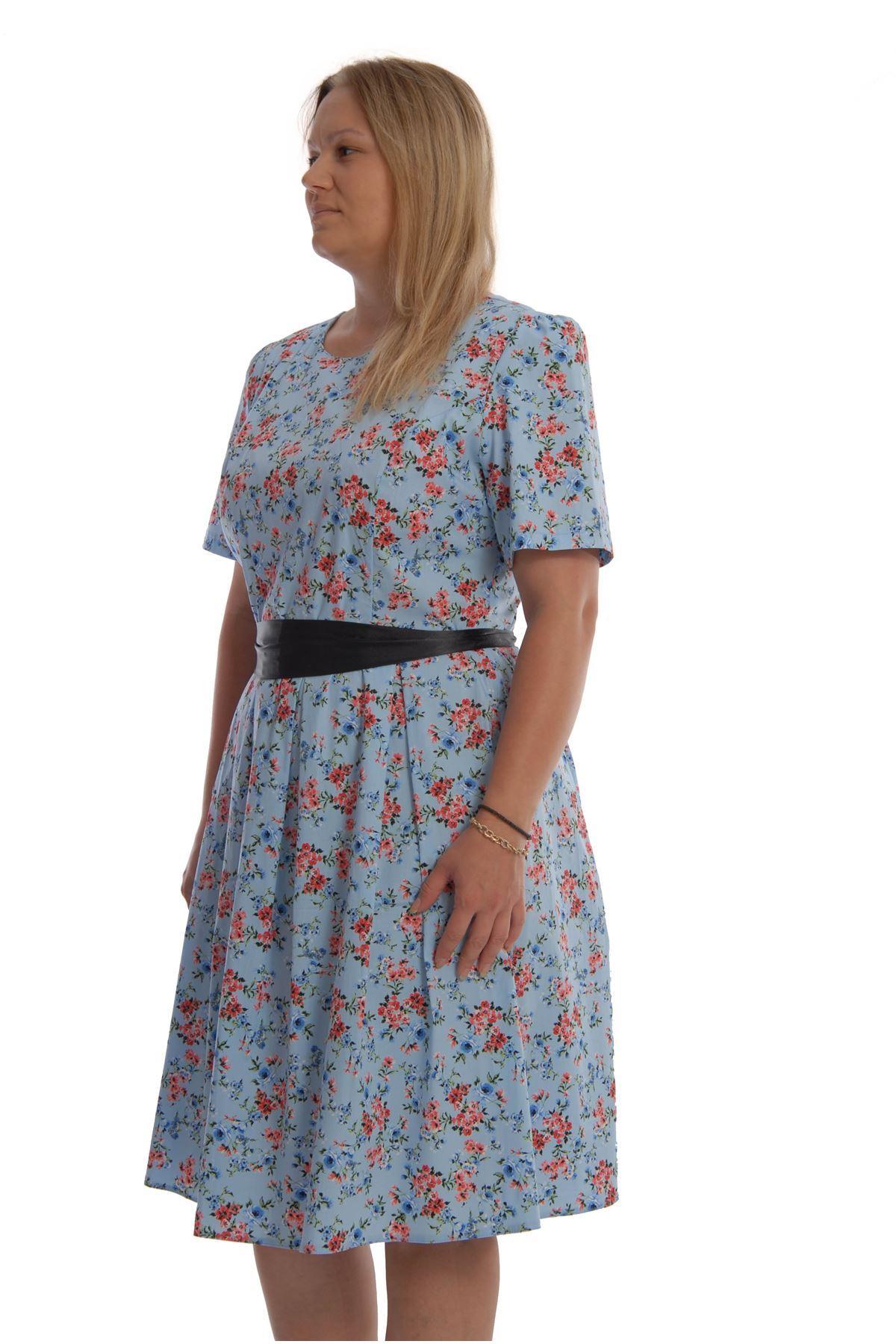 Mavi Çiçekli Elbise K12-68355