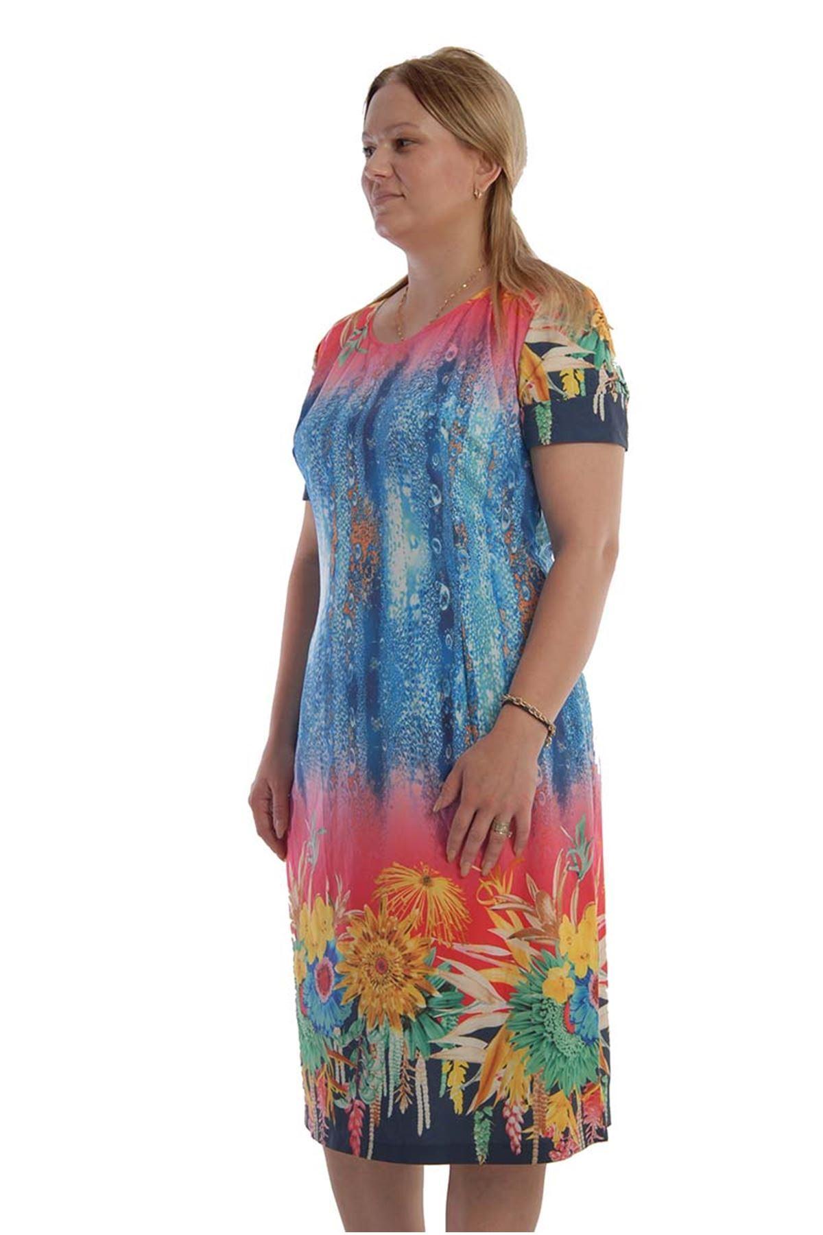 Mavi Su Desenli Elbise F7-68239