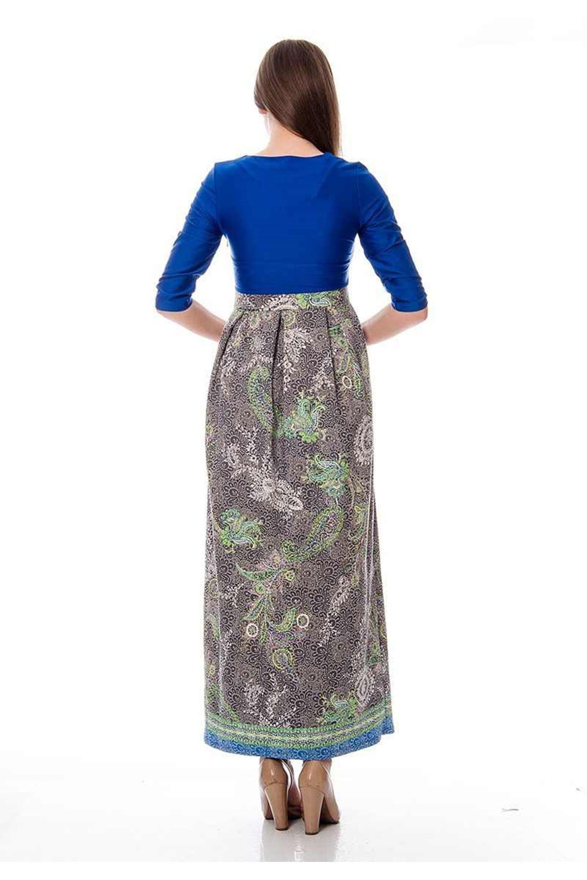 Mavi Desenli Elbise K2-116298
