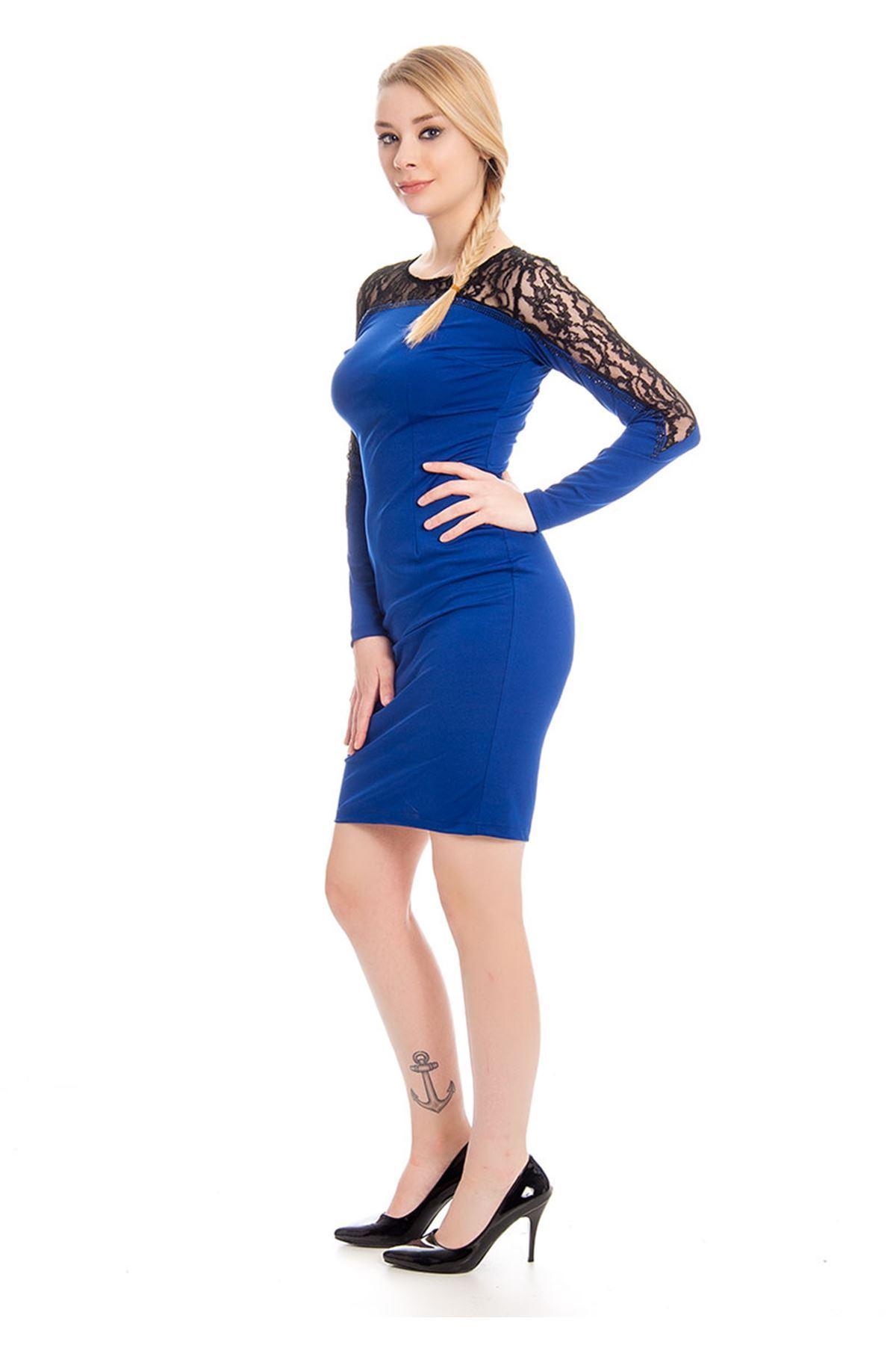 Mavi Dantel Detaylı Kadın Elbise I4-127889
