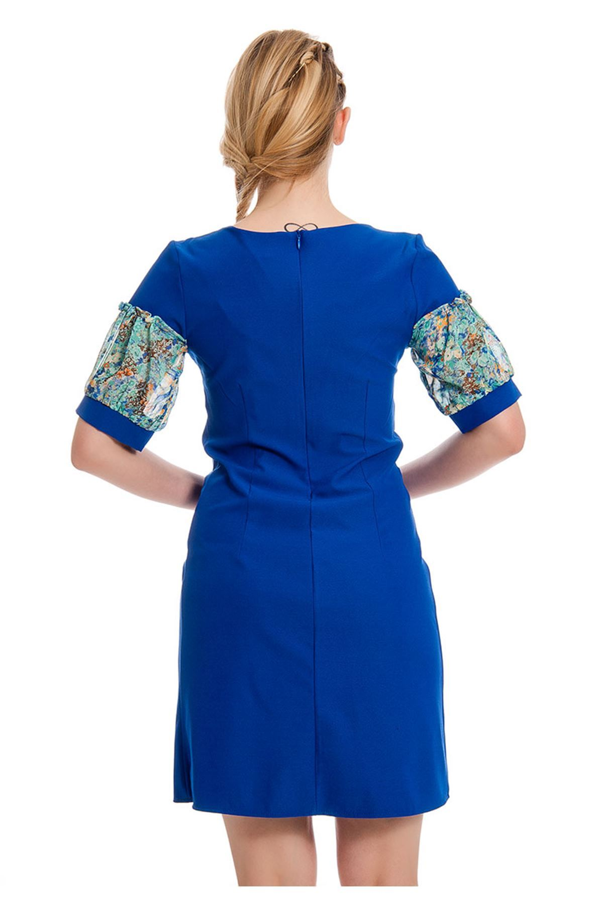 Mavi Yaka Detaylı Kadın Elbise I4-127913