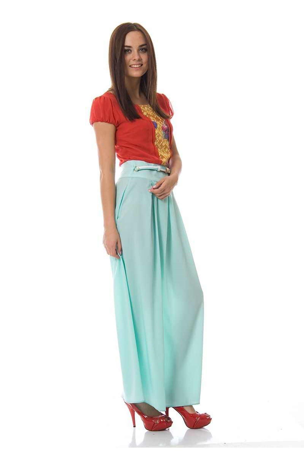 Mint Kırmızı Uzun Elbise F1-87858
