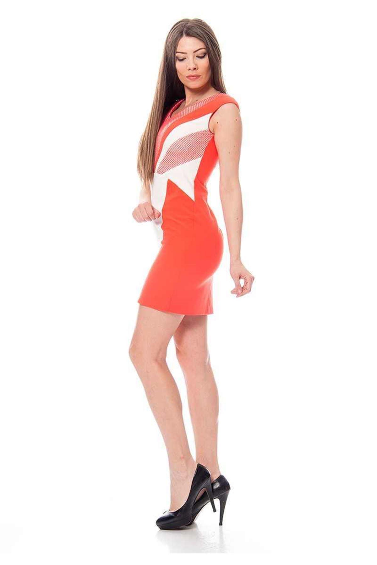 Mercan File Detaylı Elbise F10-115866