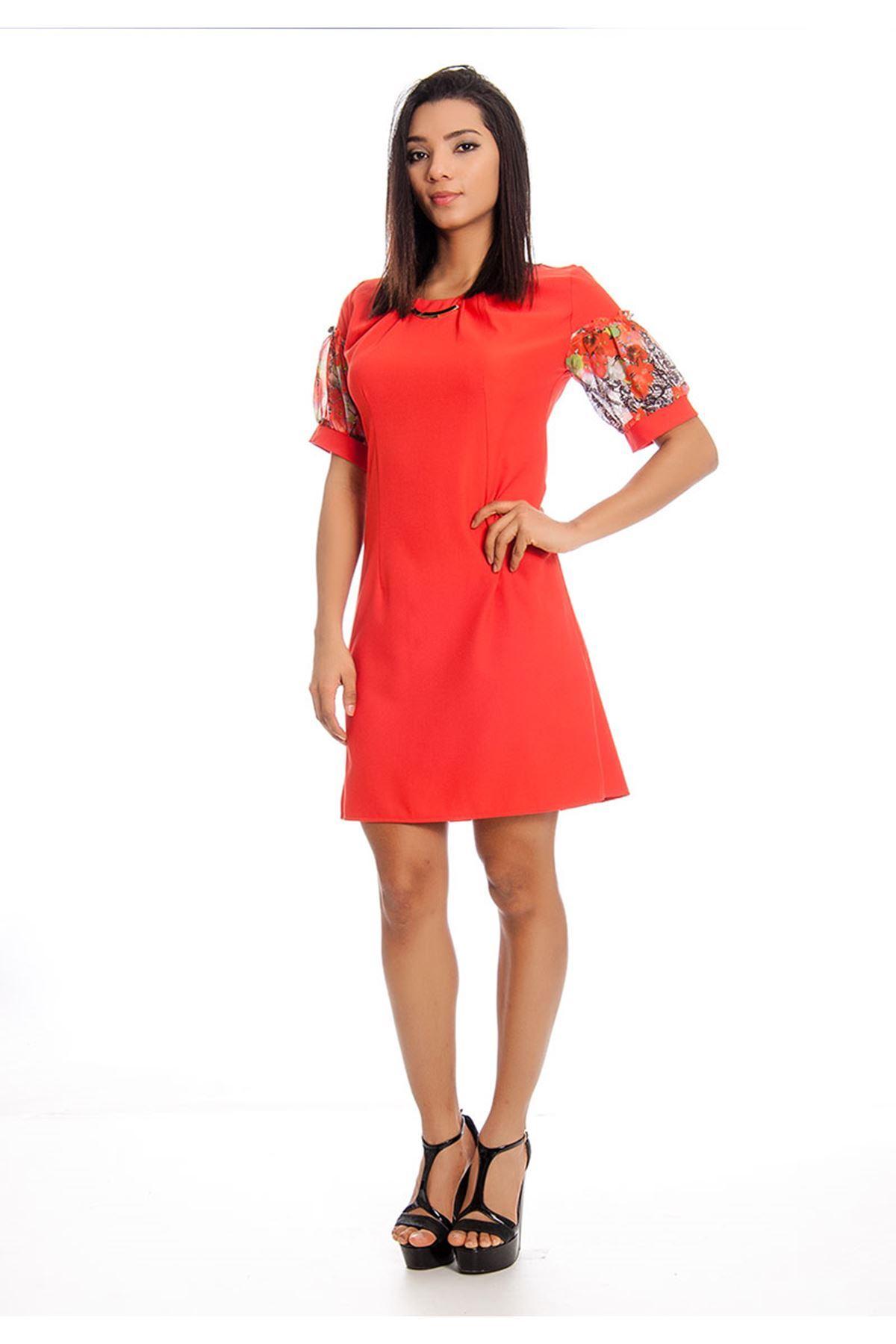 Mercan Yaka Detaylı Kadın Elbise J11-128236