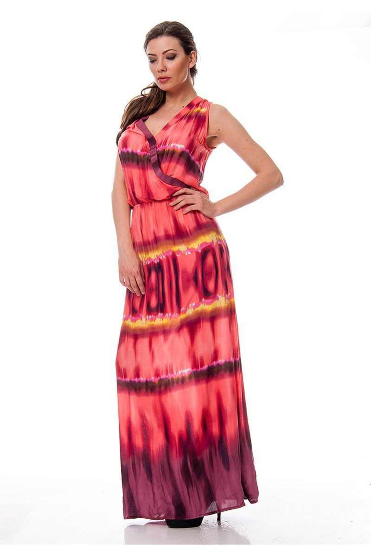 Mercan Desenli Elbise F9-115233