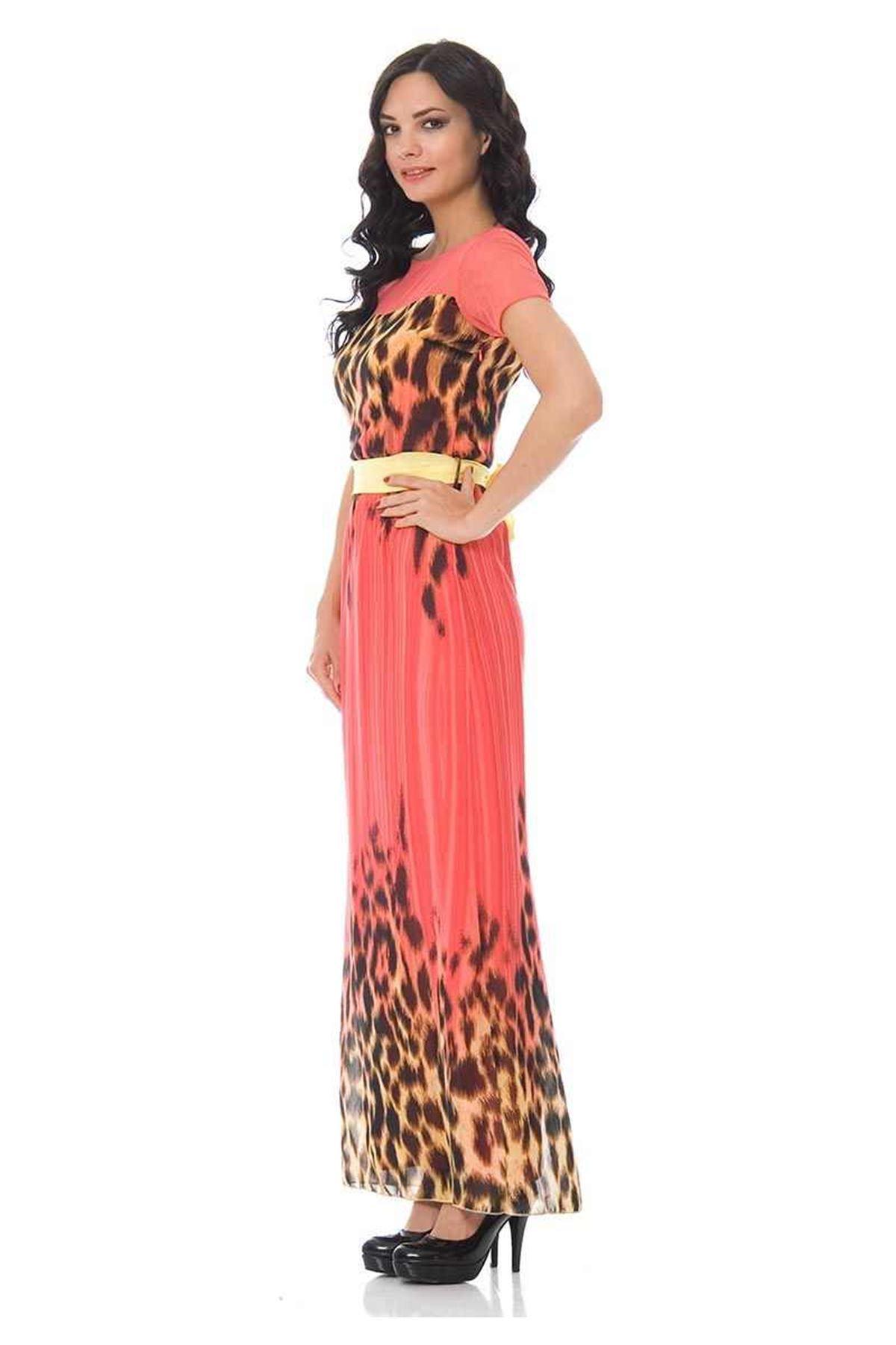 Mercan Desenli Elbise G9-84255