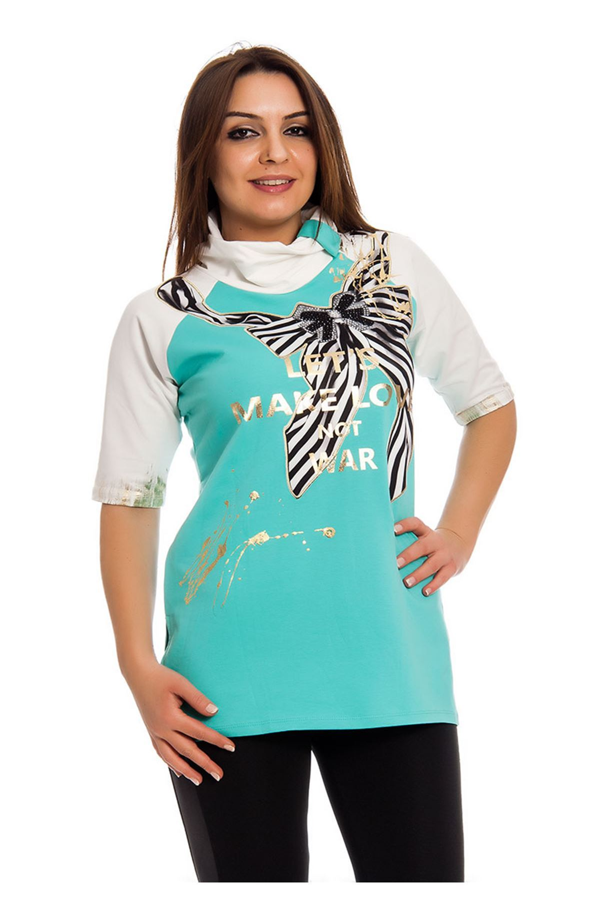 Mint Yeşili Gold Baskılı Yaka Detaylı Kadın Bluz I10-124585