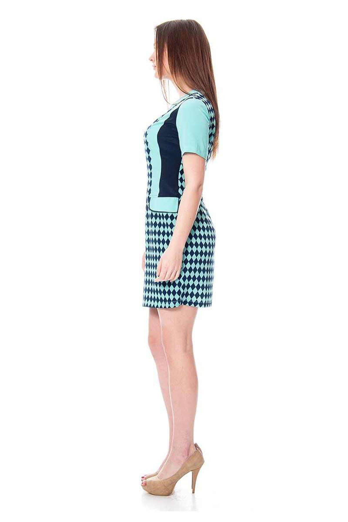 Mint Yeşili Lacivert Desenli Elbise F8-113851