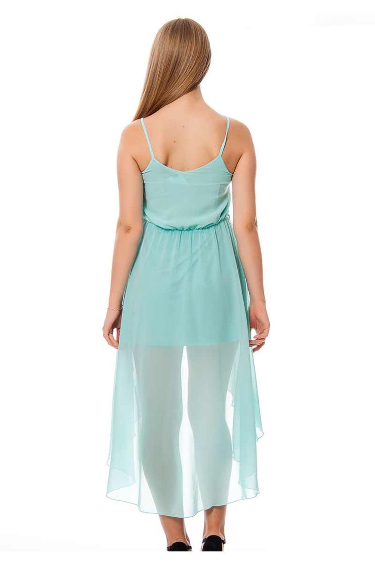 Mint Yeşili Yazlık Uzun Elbise F1-117049