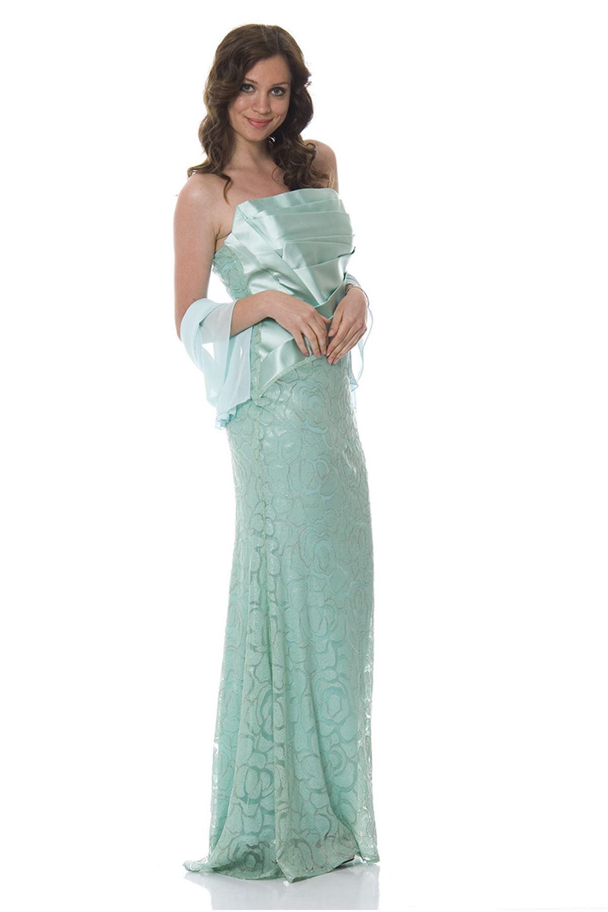 Mint Yeşili Pullu Abiye H3-83820