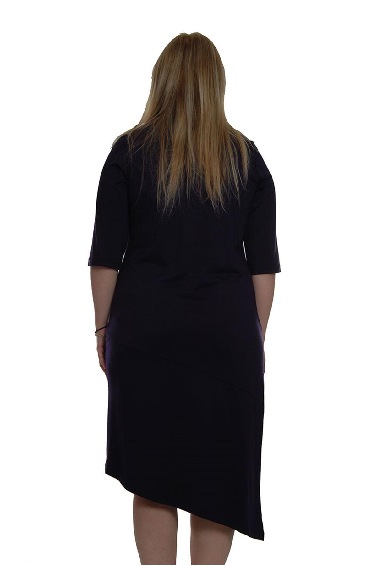 Mor Kelebekli Elbise H3-69386