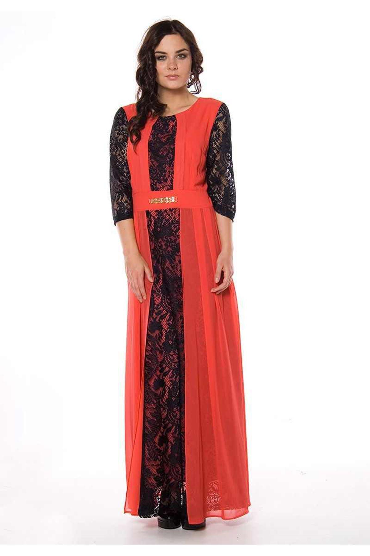Narçiçeği Dantelli Elbise F1-82457