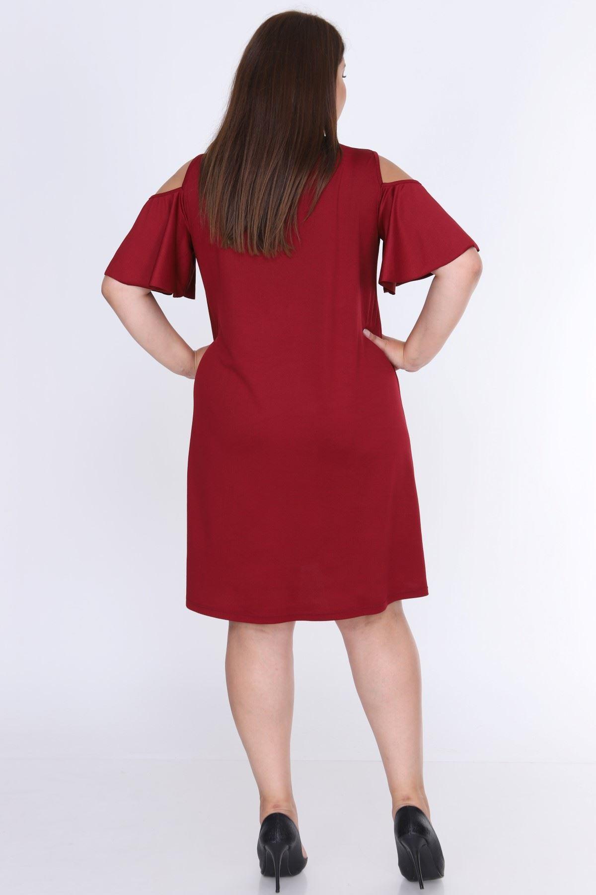 Omuzu Açık Bordo Büyük Beden Elbise 7A-0645