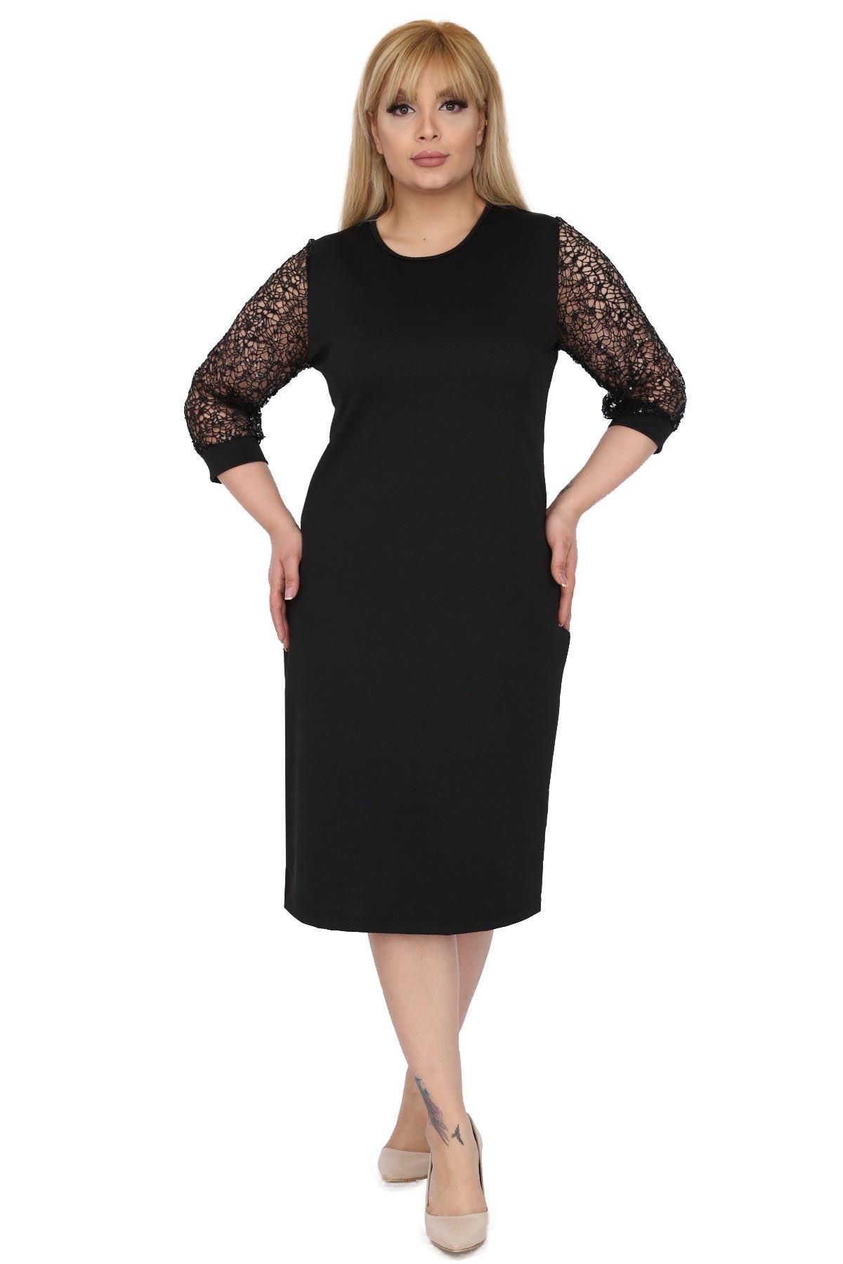 Payetli File Kol Büyük Beden Elbise 7B-0520
