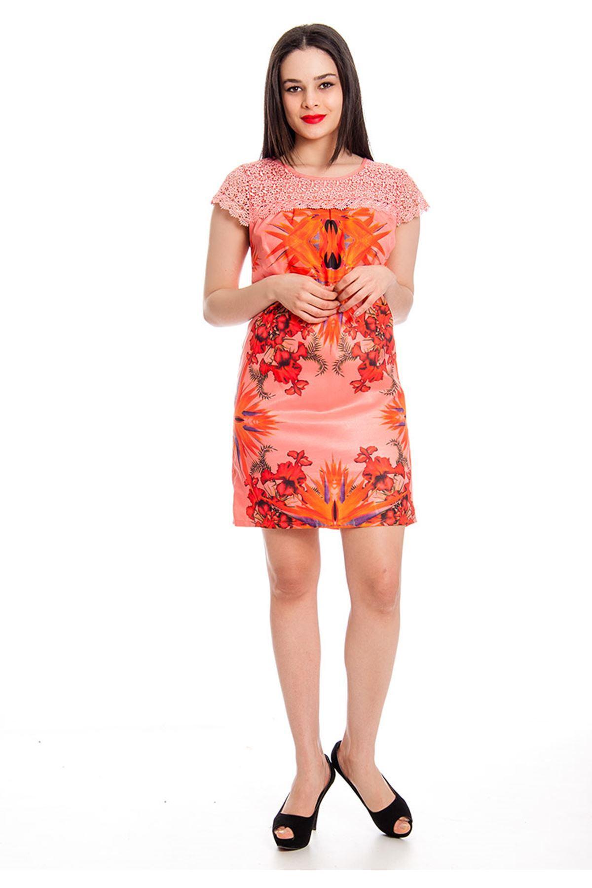 Pembe Baskılı Elbise J10-130506