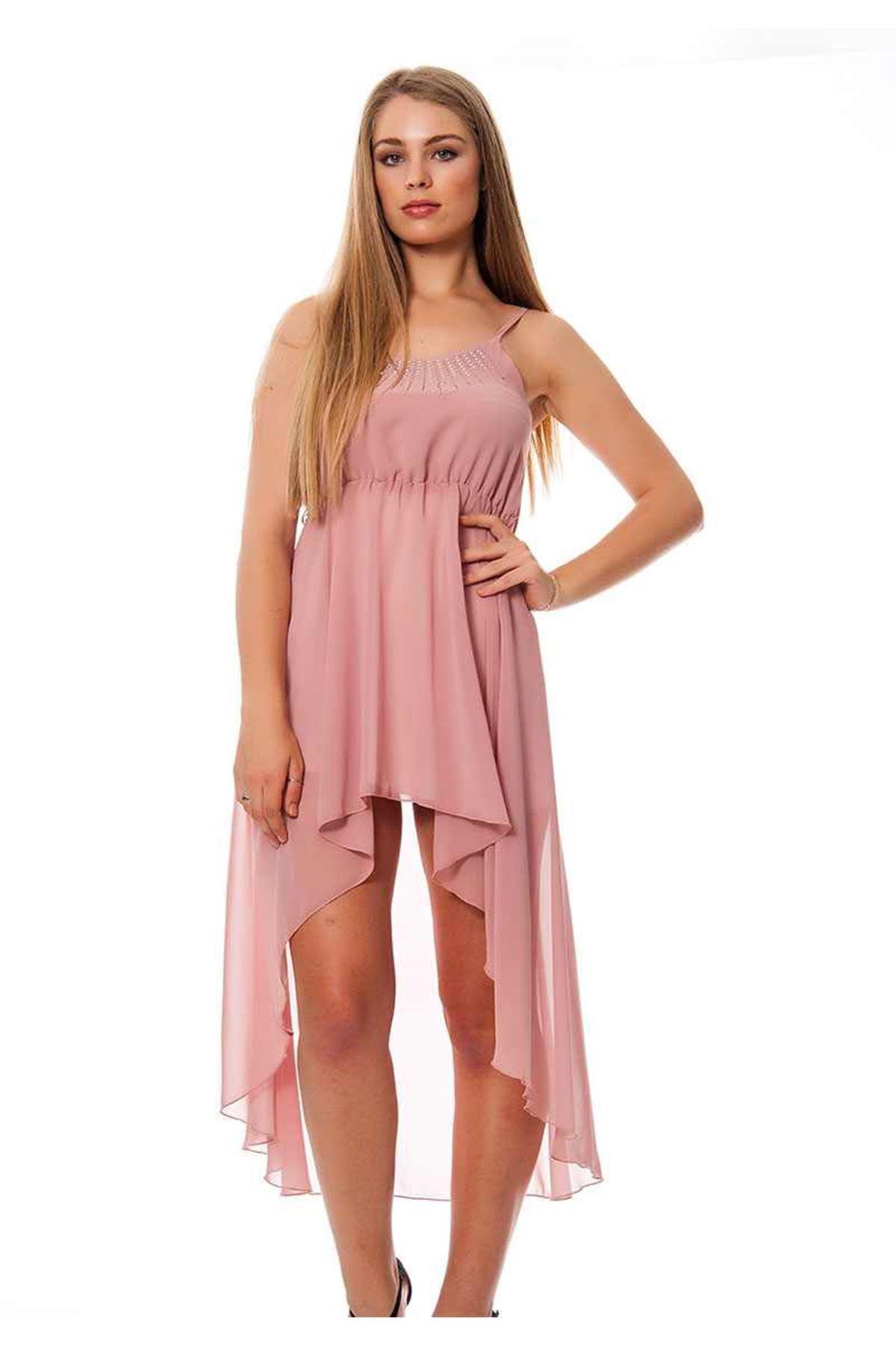 Pudra Yazlık Uzun Elbise F1-117046