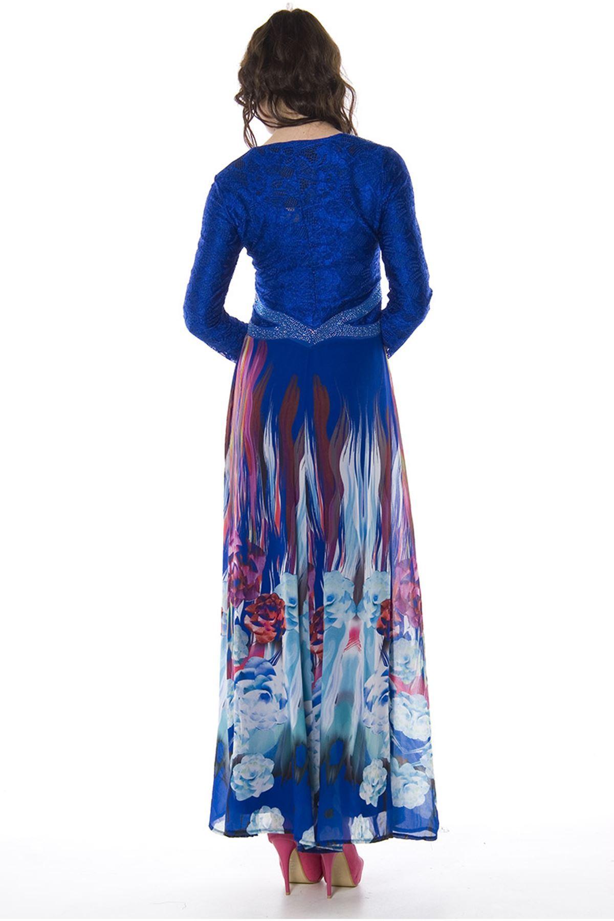 Saks Mavi Taşlı Şifon Hırkalı Elbise H8-82451
