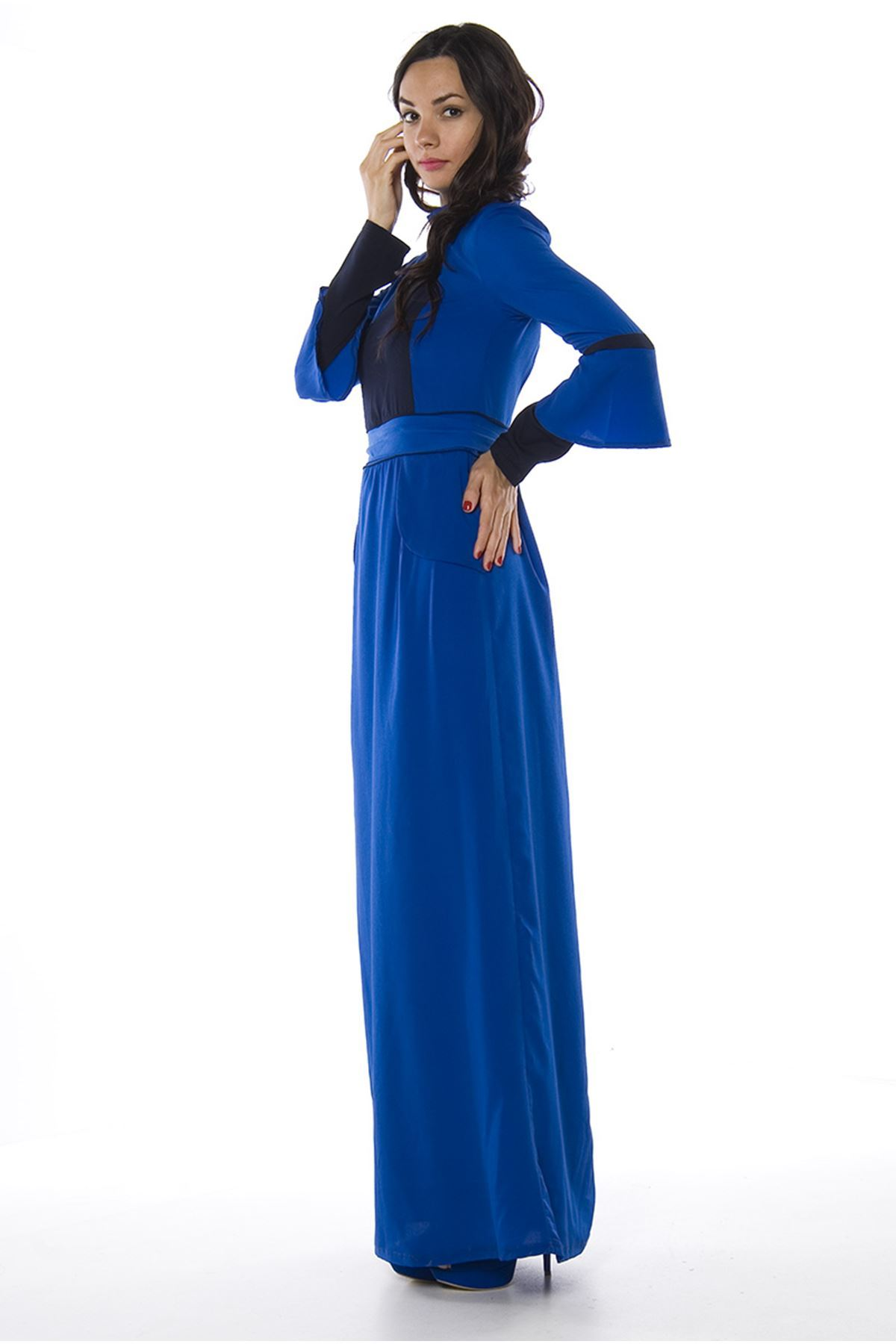 Saks Mavi Uzun Elbise H3-82722