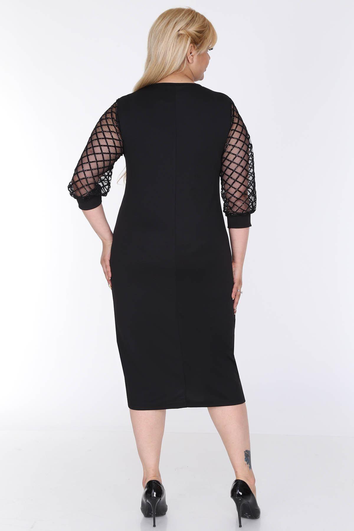 Simli Flok Kol Büyük Beden Elbise 3C-0572