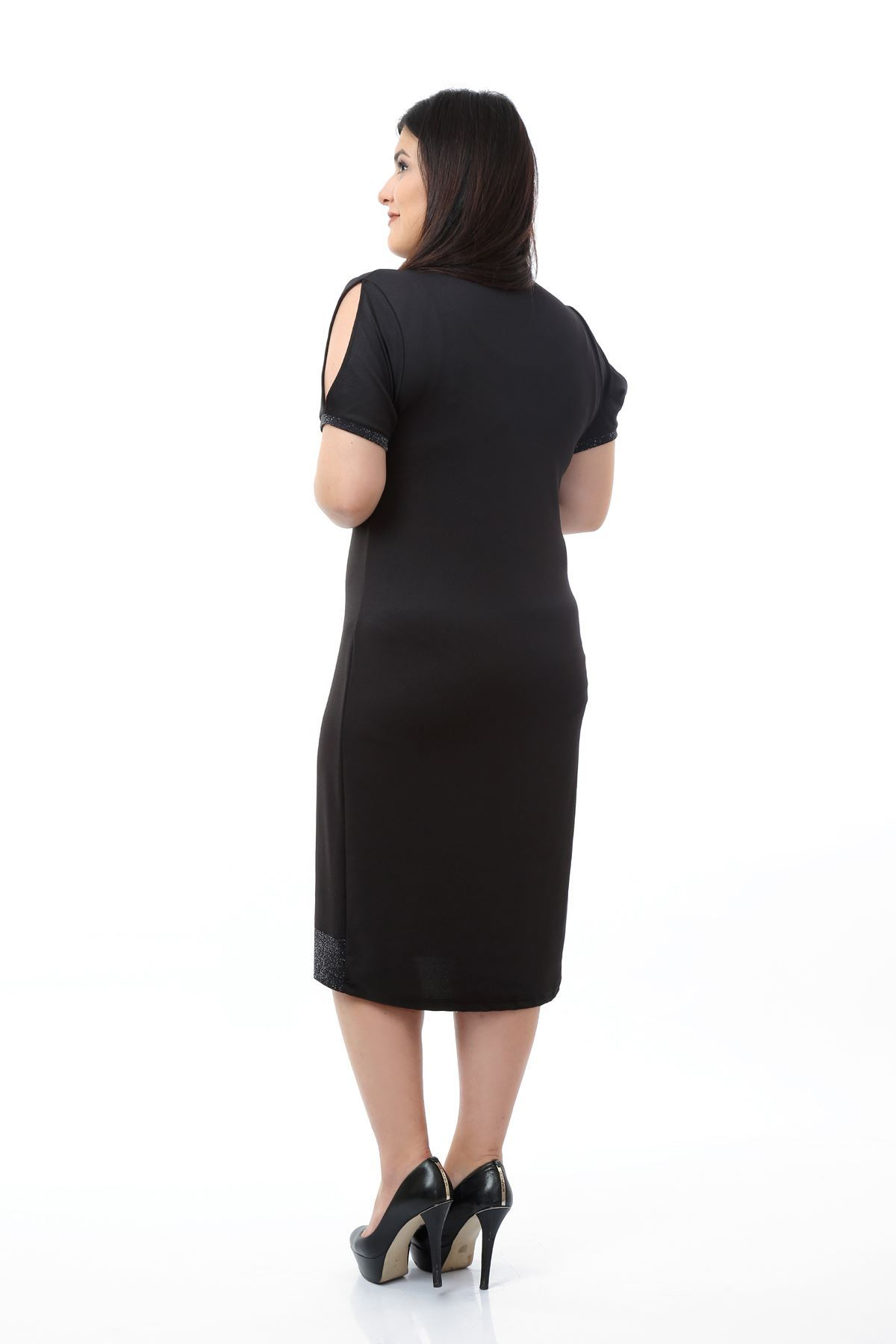 Simli Garnili Büyük Beden Elbise 10D-0680